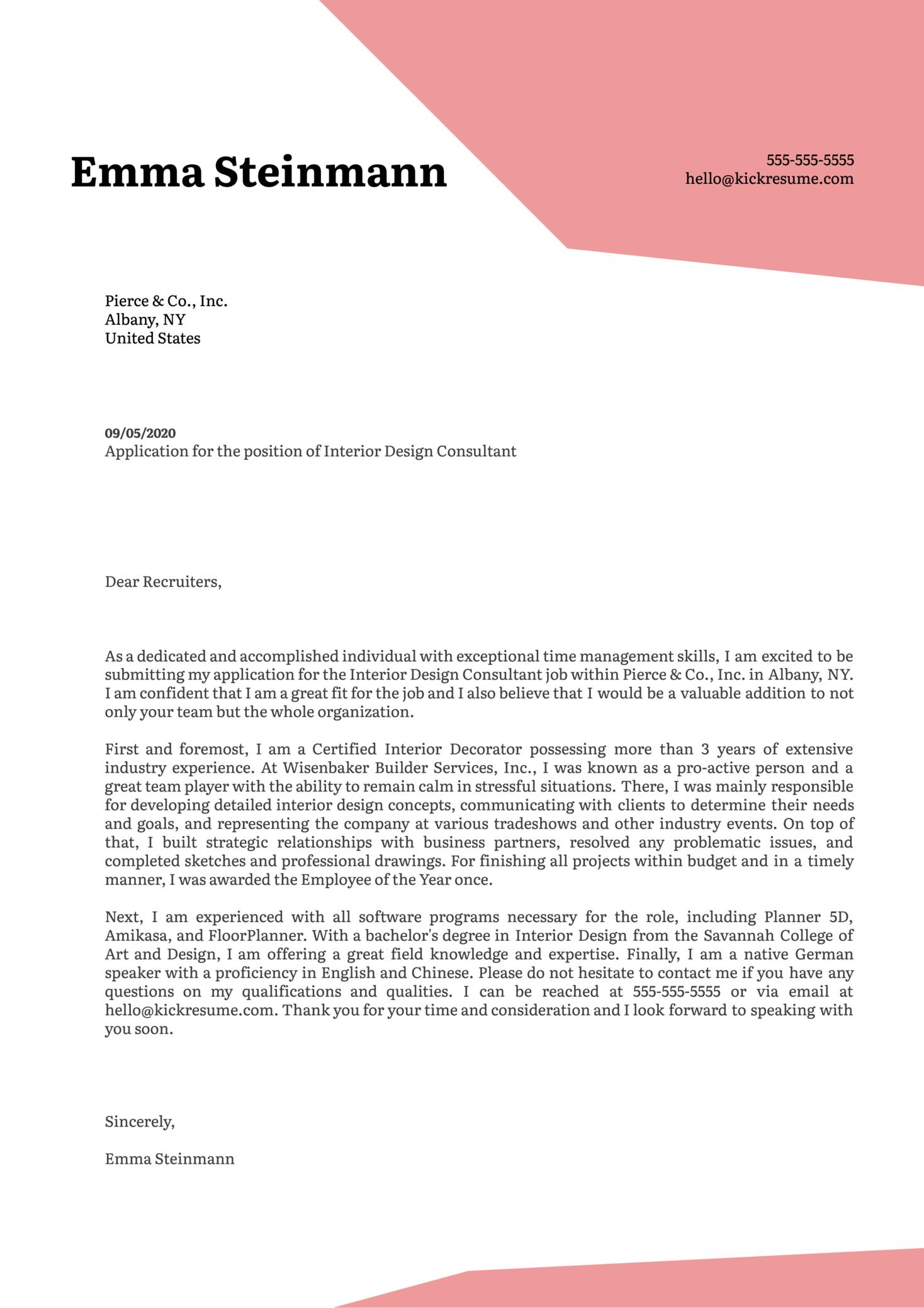 Interior Design Consultant Cover Letter Example