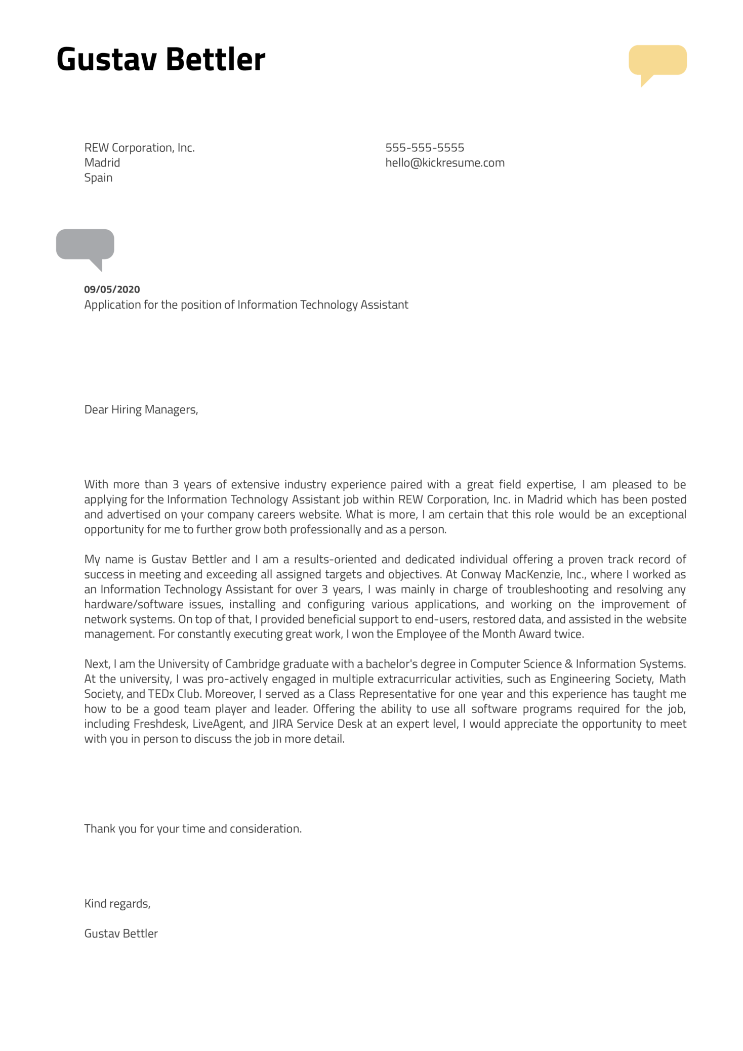 Information Technology Assistant Cover Letter Sample
