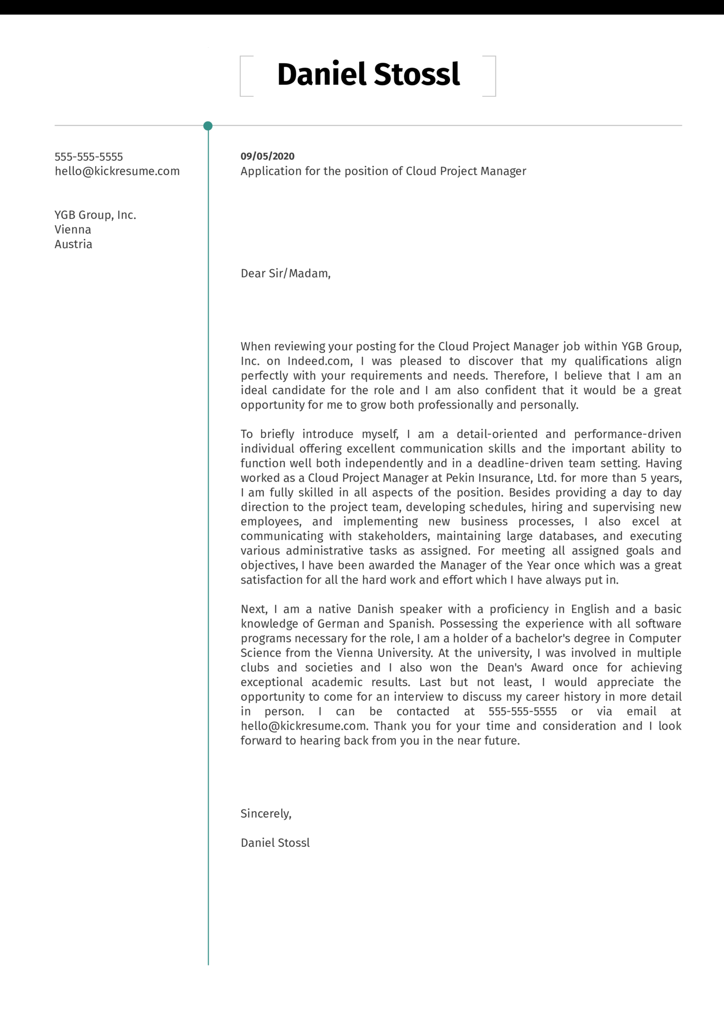 Cloud Project Manager Cover Letter Example