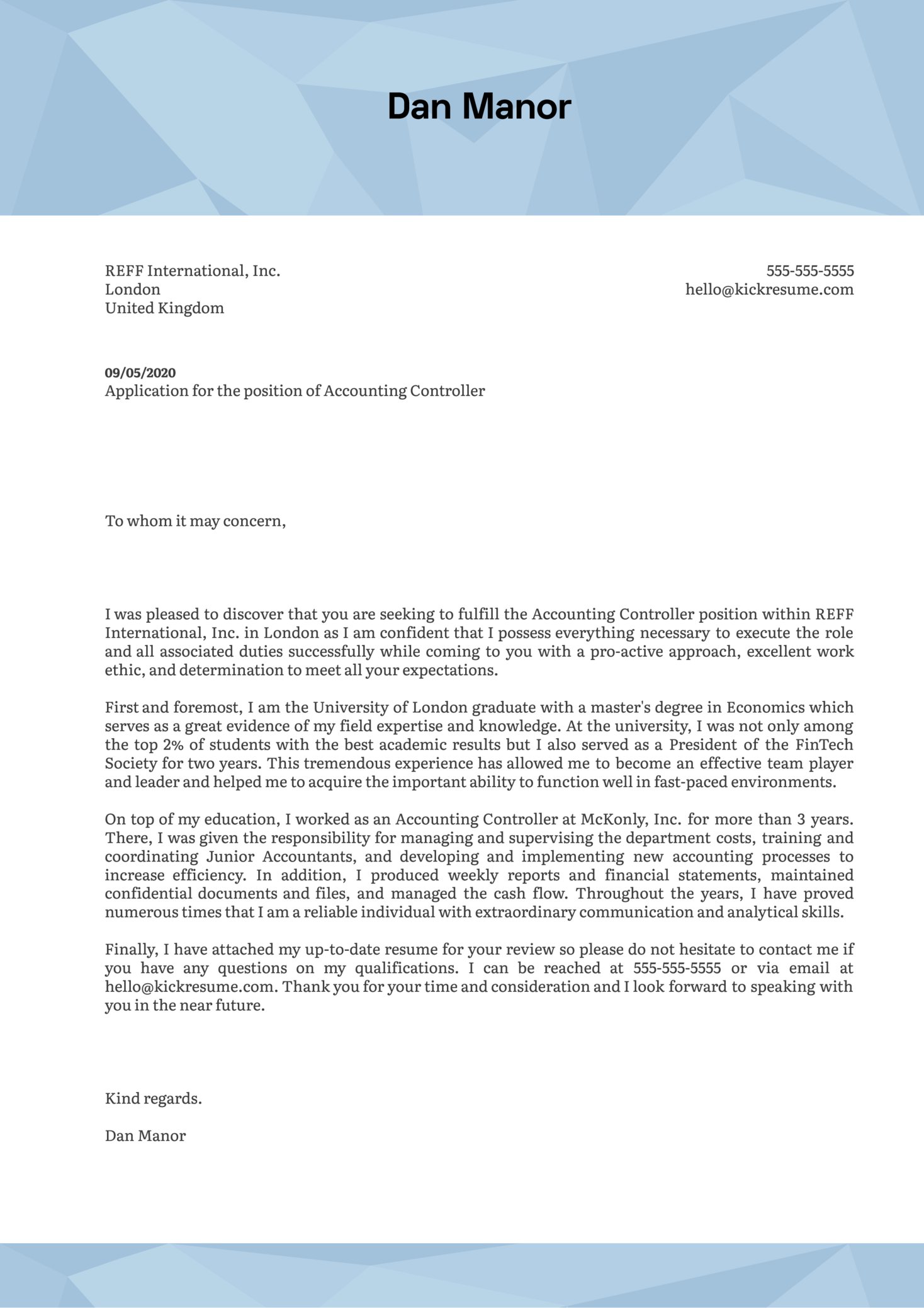 Accounting Controller Cover Letter Example