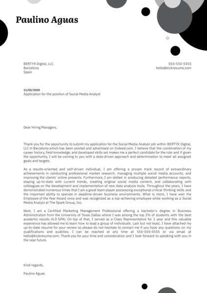 Social Media Analyst Cover Letter Sample