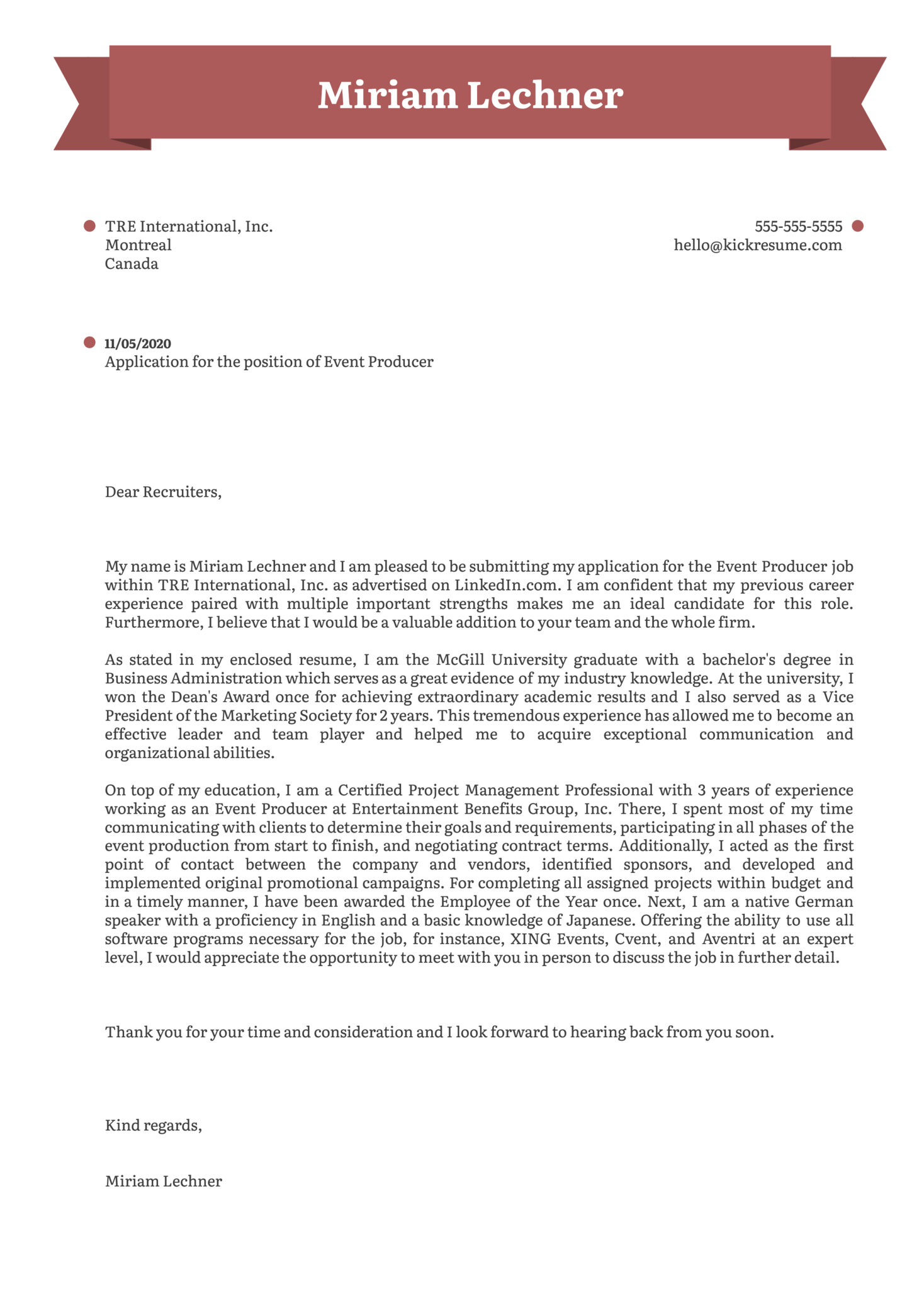 Event Producer Cover Letter Sample