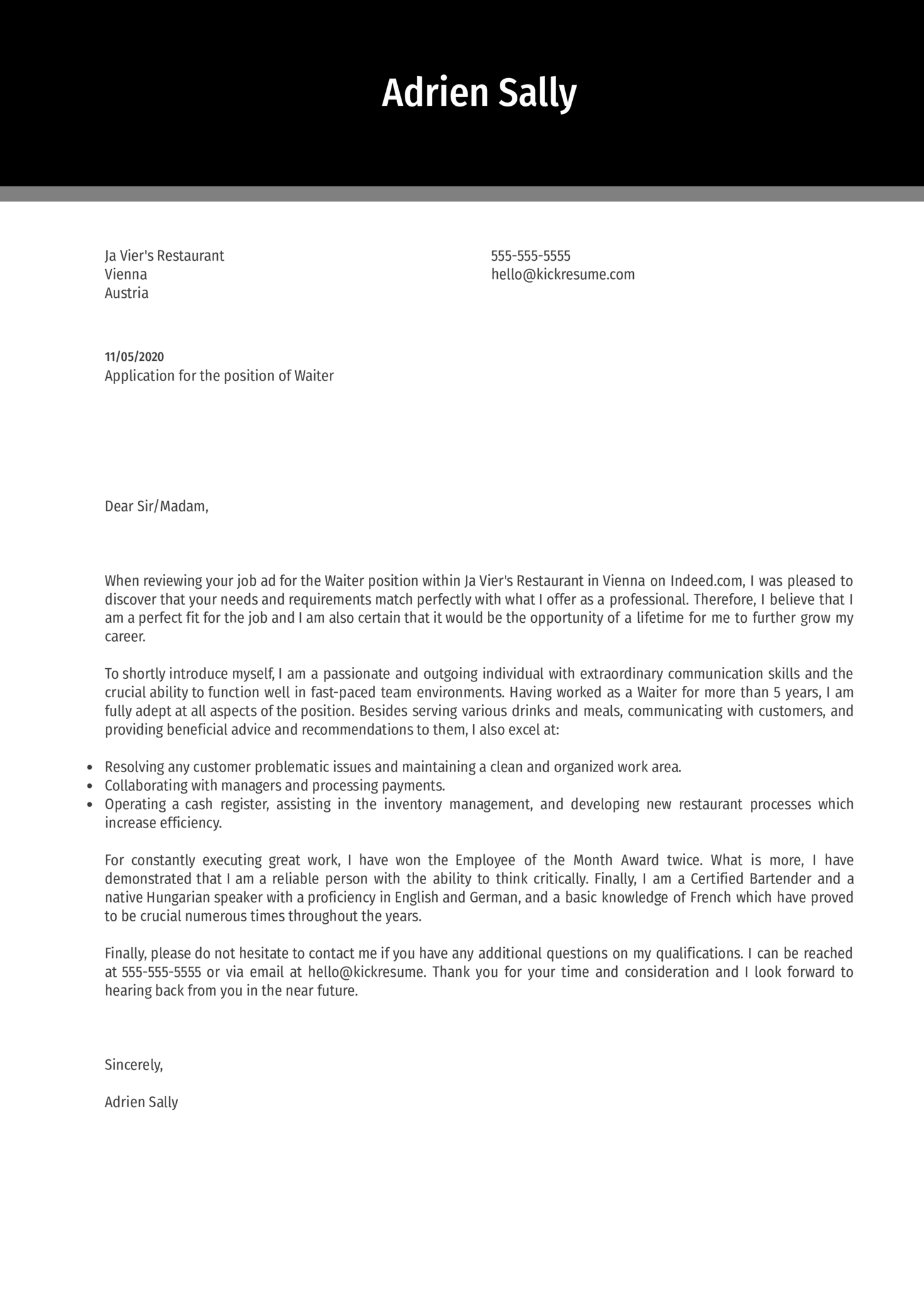 Waiter Cover Letter Example