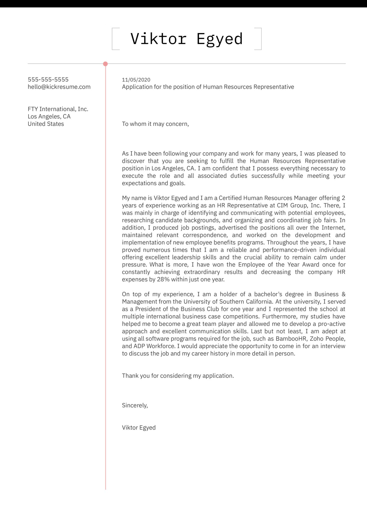 Human Resources Representative Cover Letter Sample
