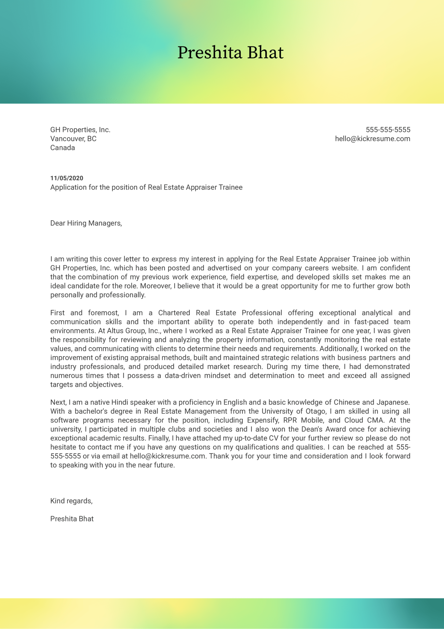 Real Estate Appraiser Trainee Cover Letter Example