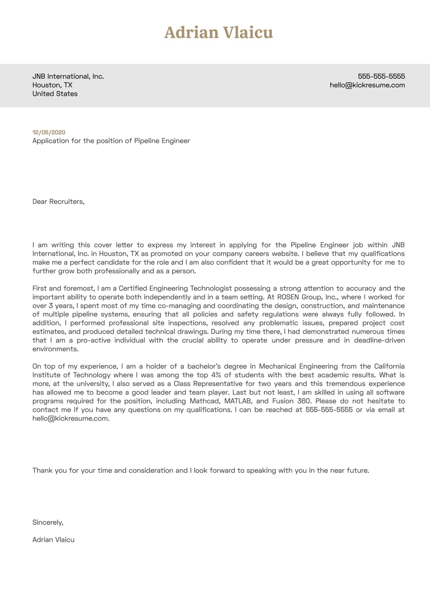 Pipeline Engineer Cover Letter Sample