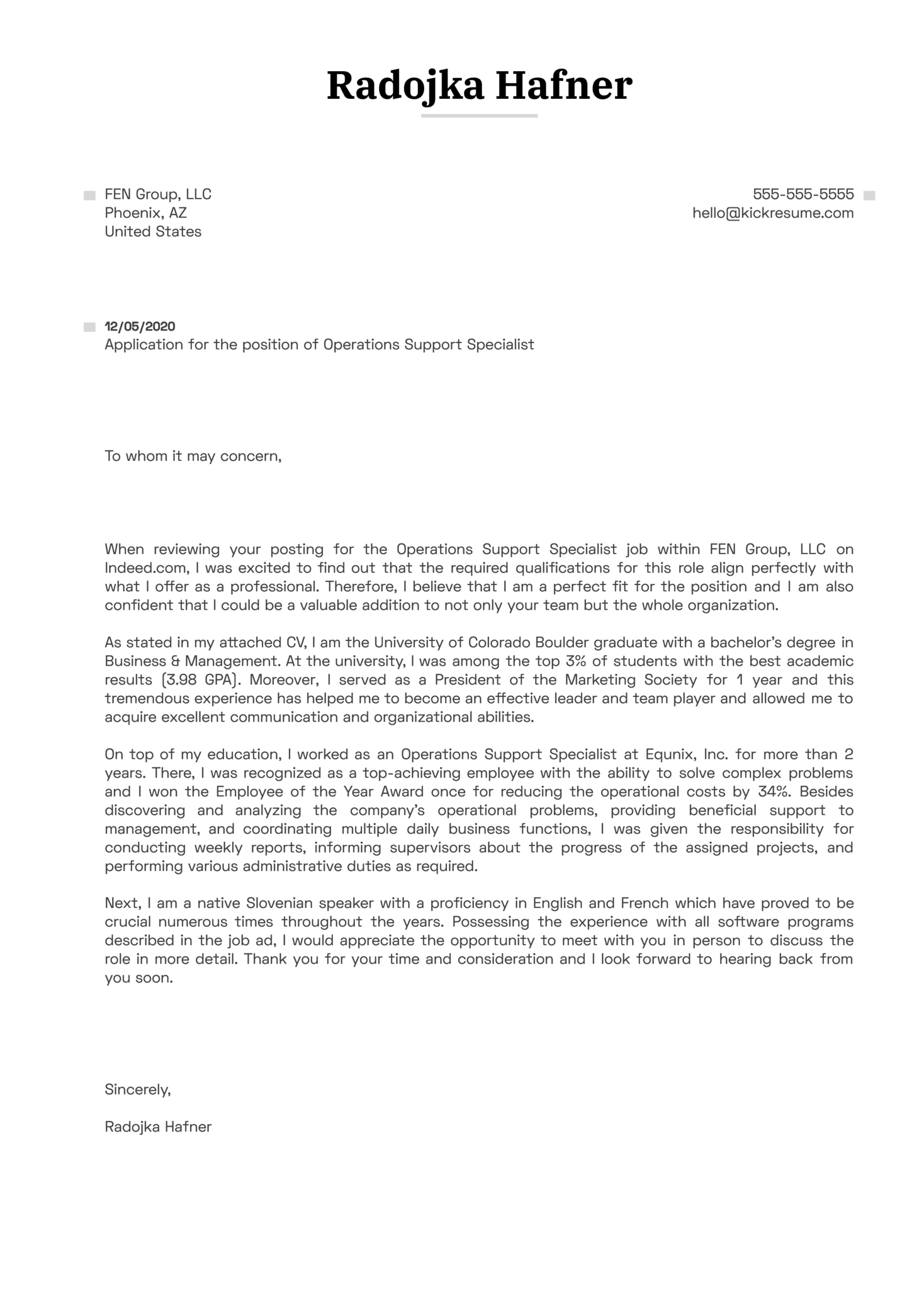 Operations Support Specialist Cover Letter Sample