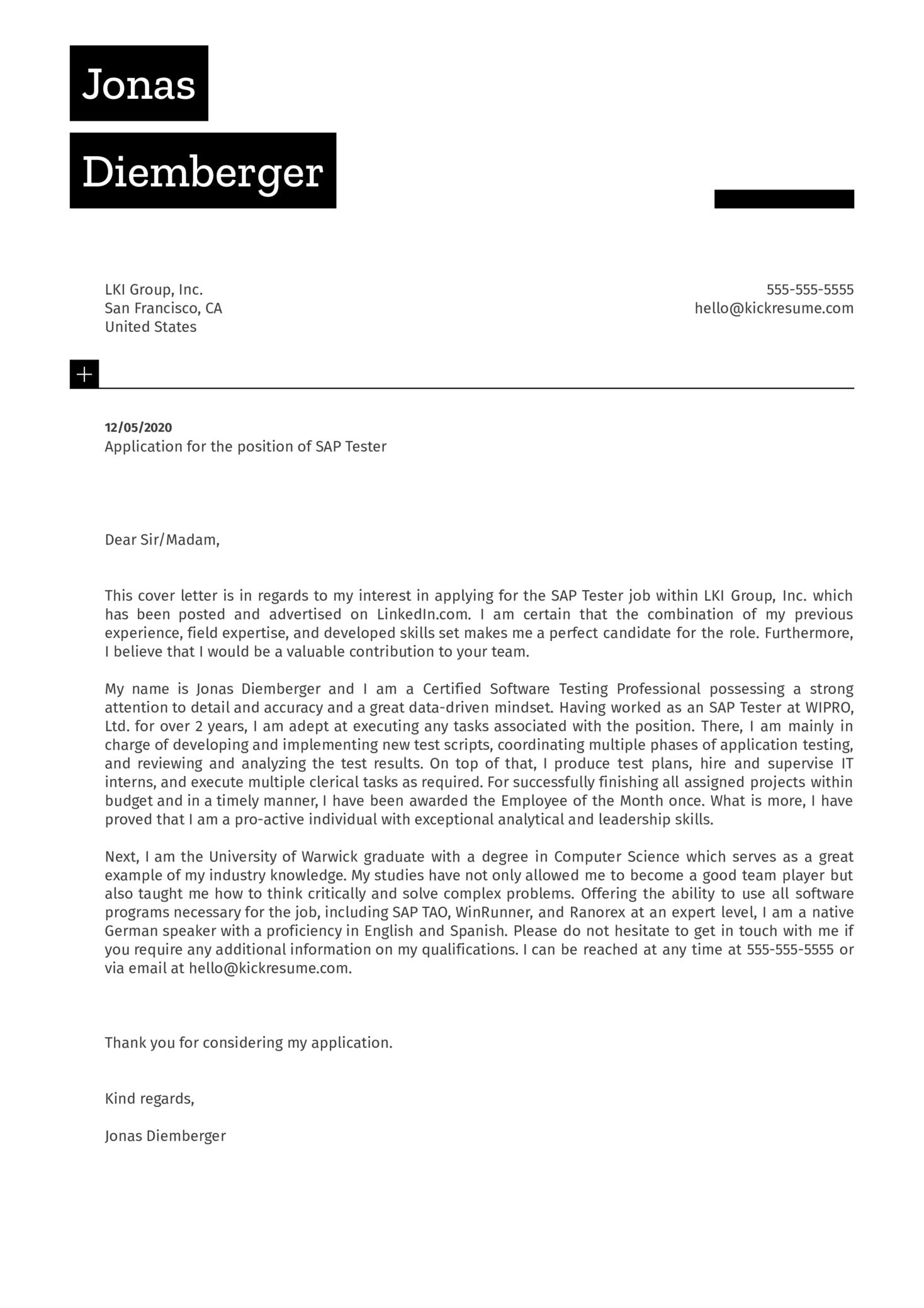 SAP Tester Cover Letter Sample