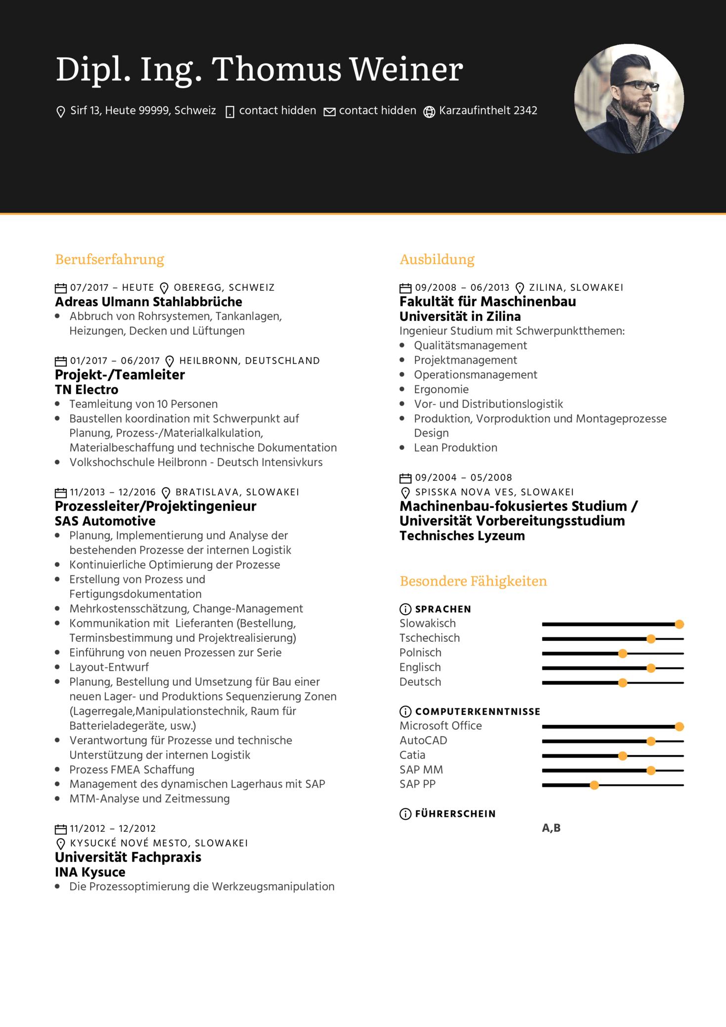 KNAPP Maschinenbauingenieur Lebenslauf Sample (parte 1)