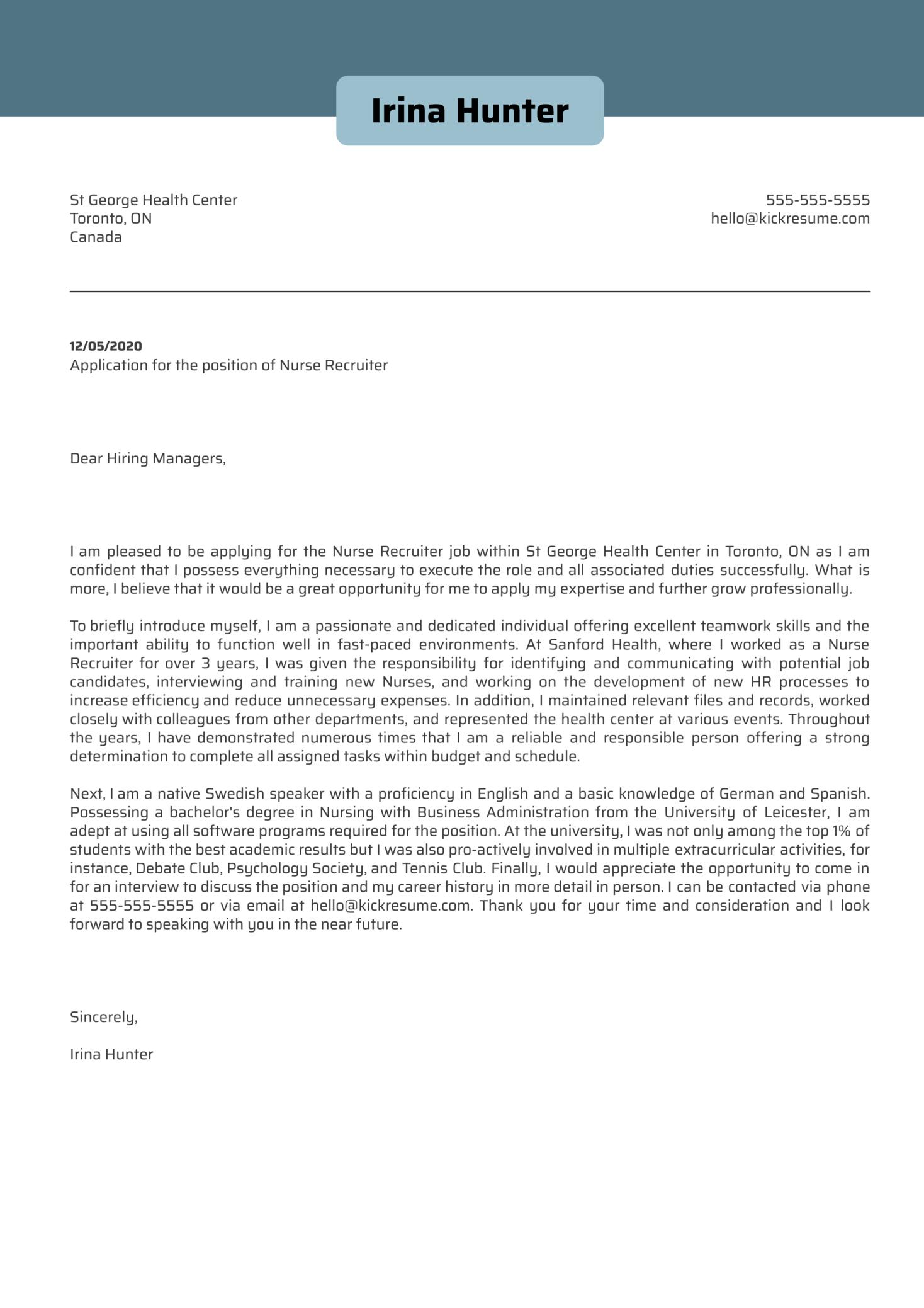 Nurse Recruiter Cover Letter Sample