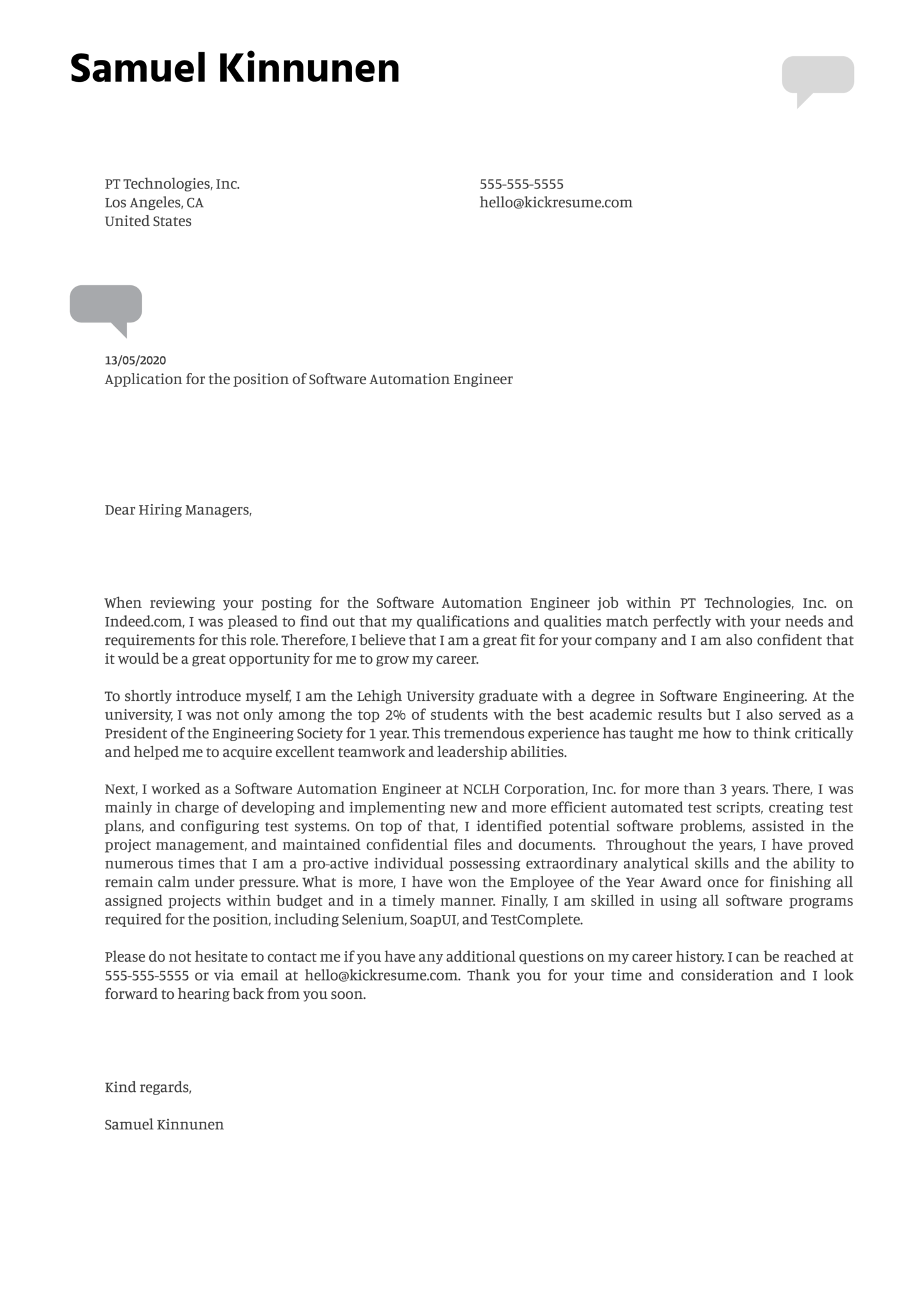 Software Automation Engineer Cover Letter Example