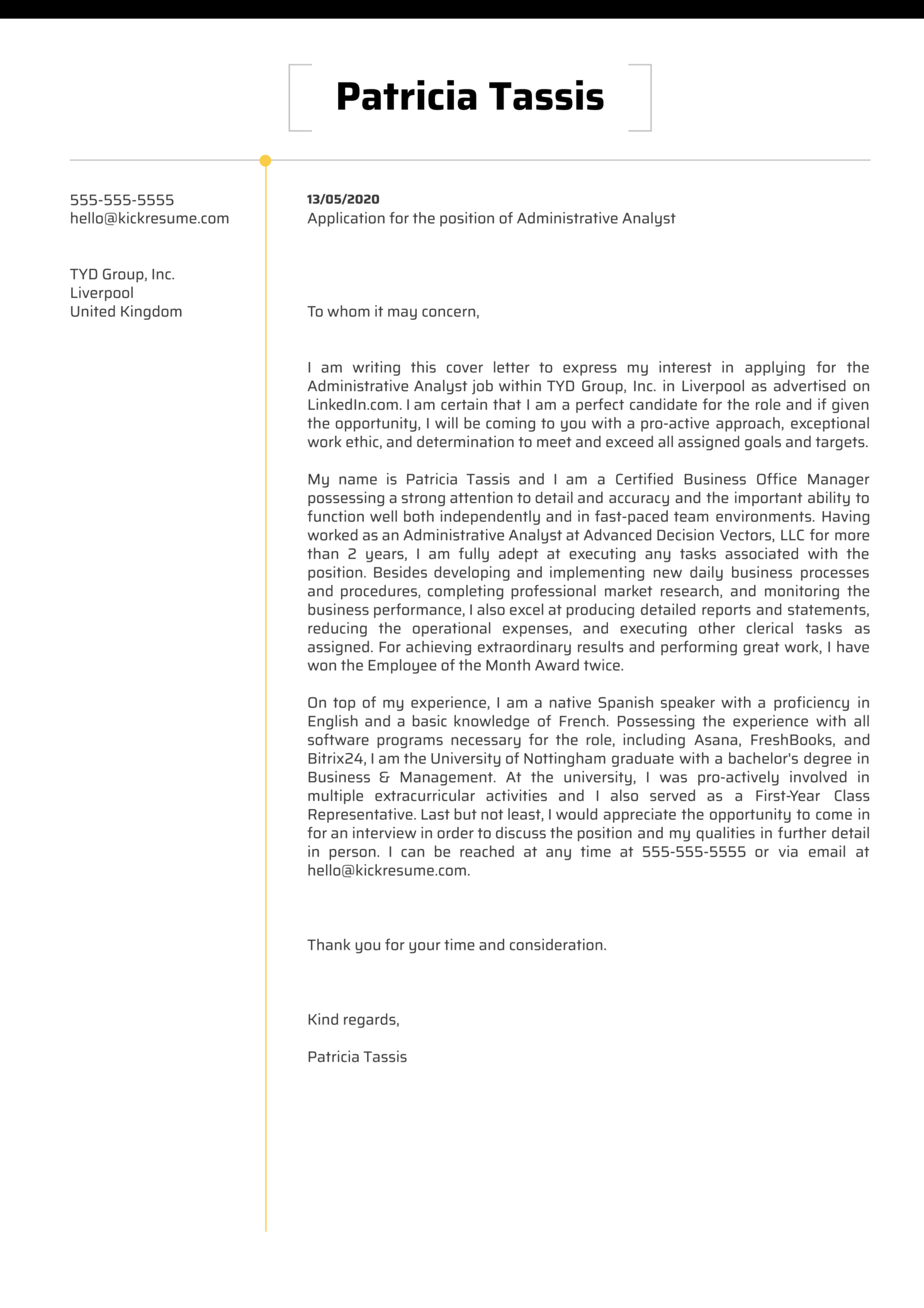 Administrative Analyst Cover Letter Sample