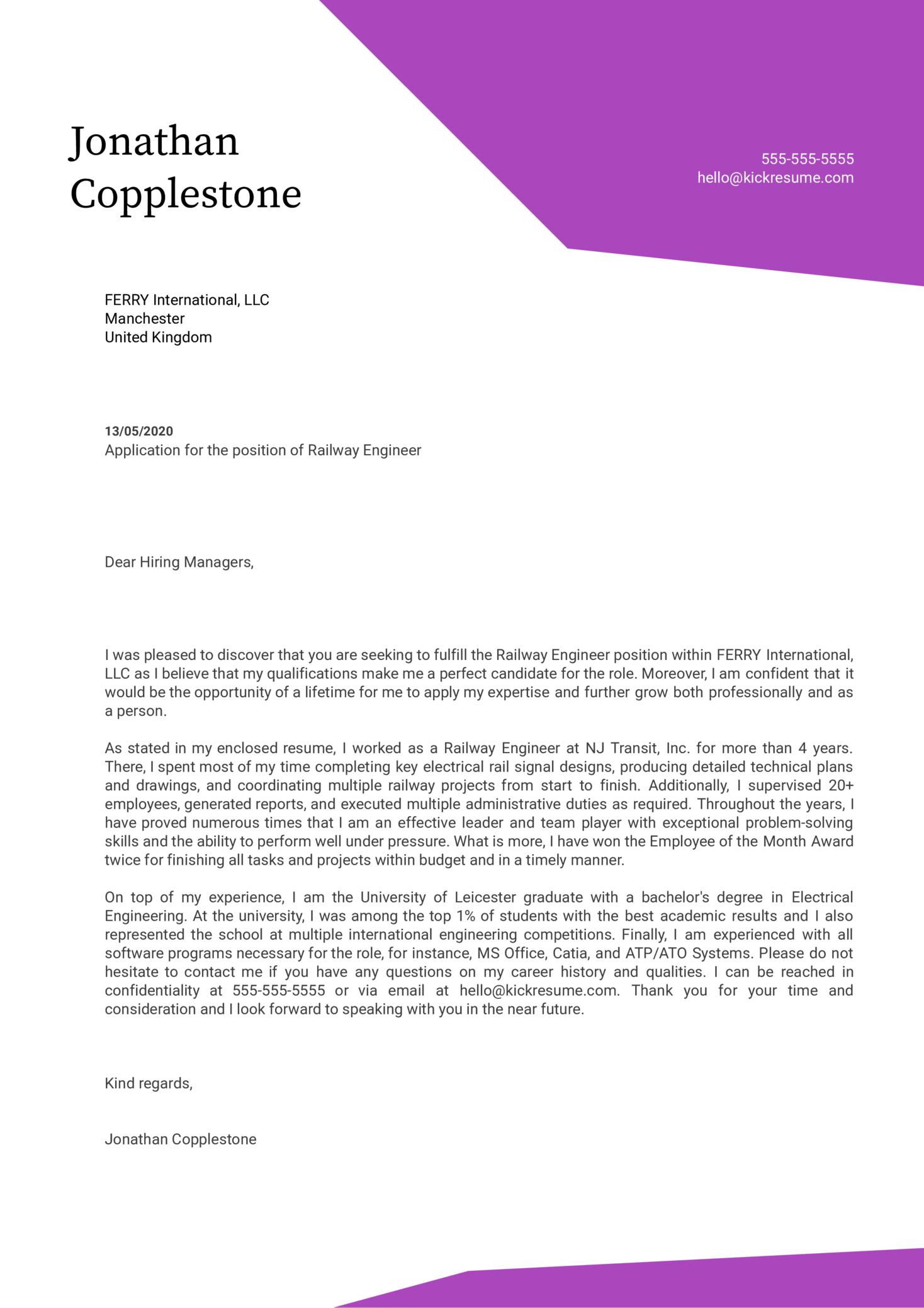 Railway Engineer Cover Letter Sample