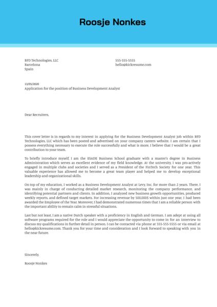 Business Development Analyst Cover Letter Sample