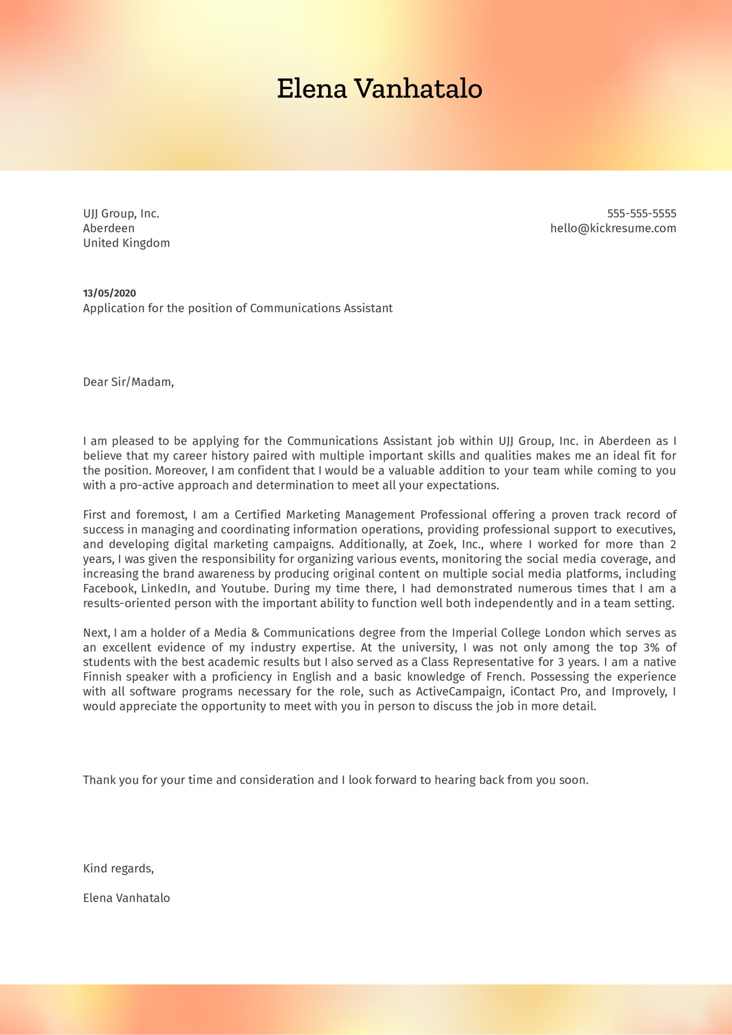 Communications Assistant Cover Letter Example