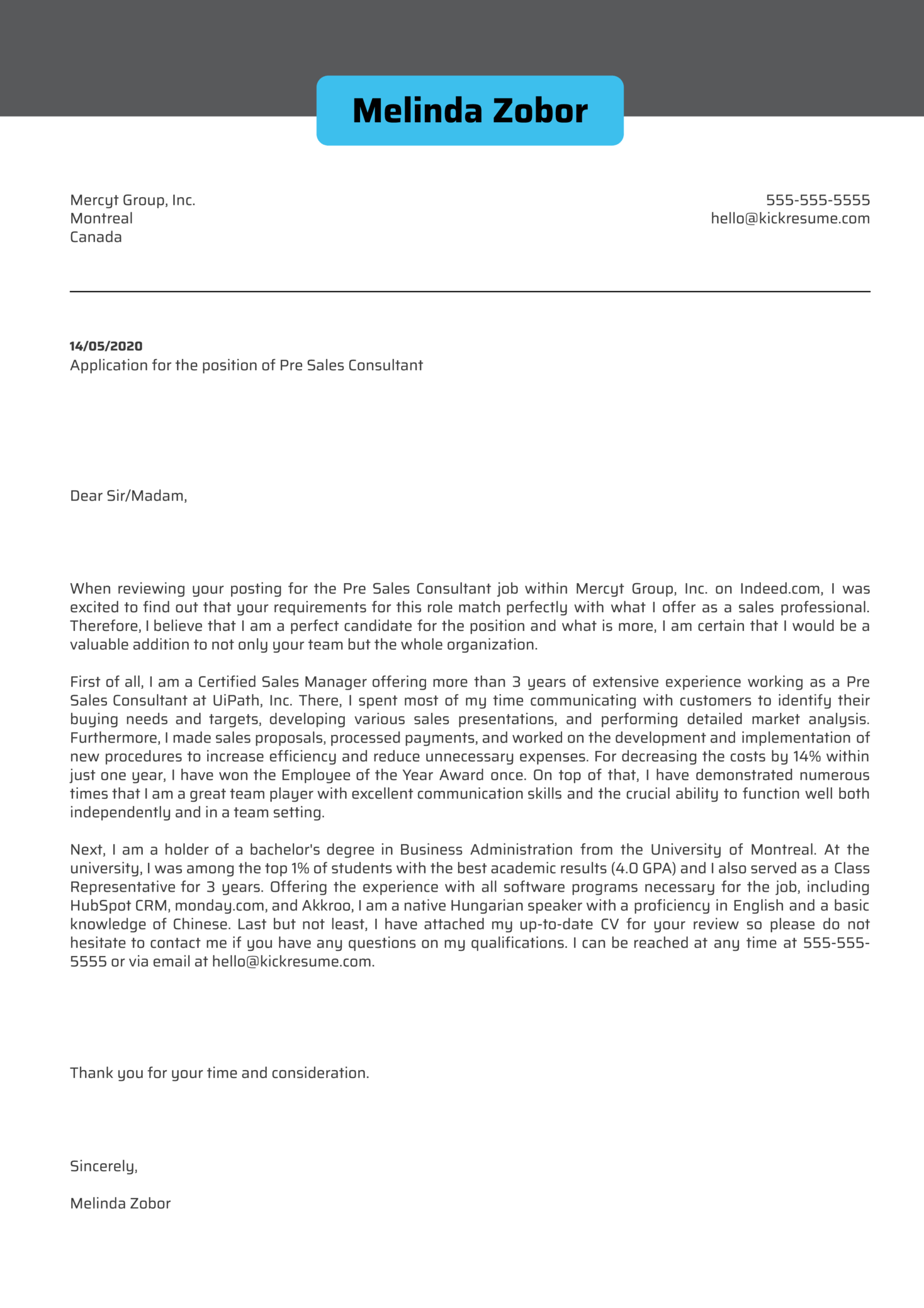 Pre Sales Consultant Cover Letter Example