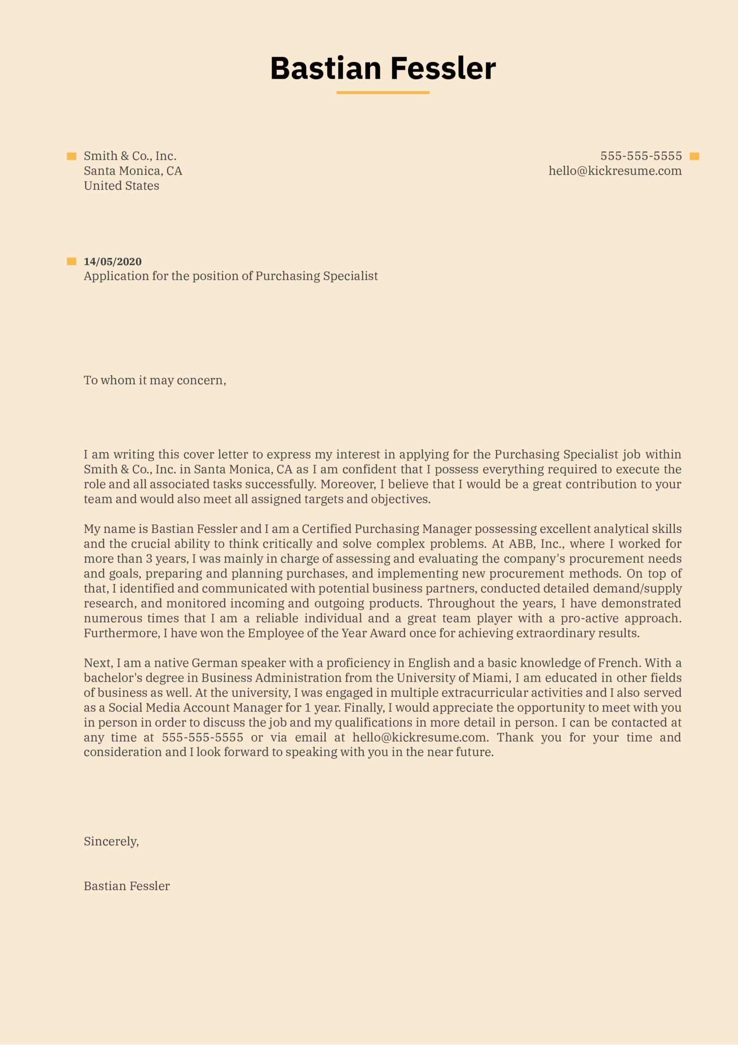 Purchasing Specialist Cover Letter Sample