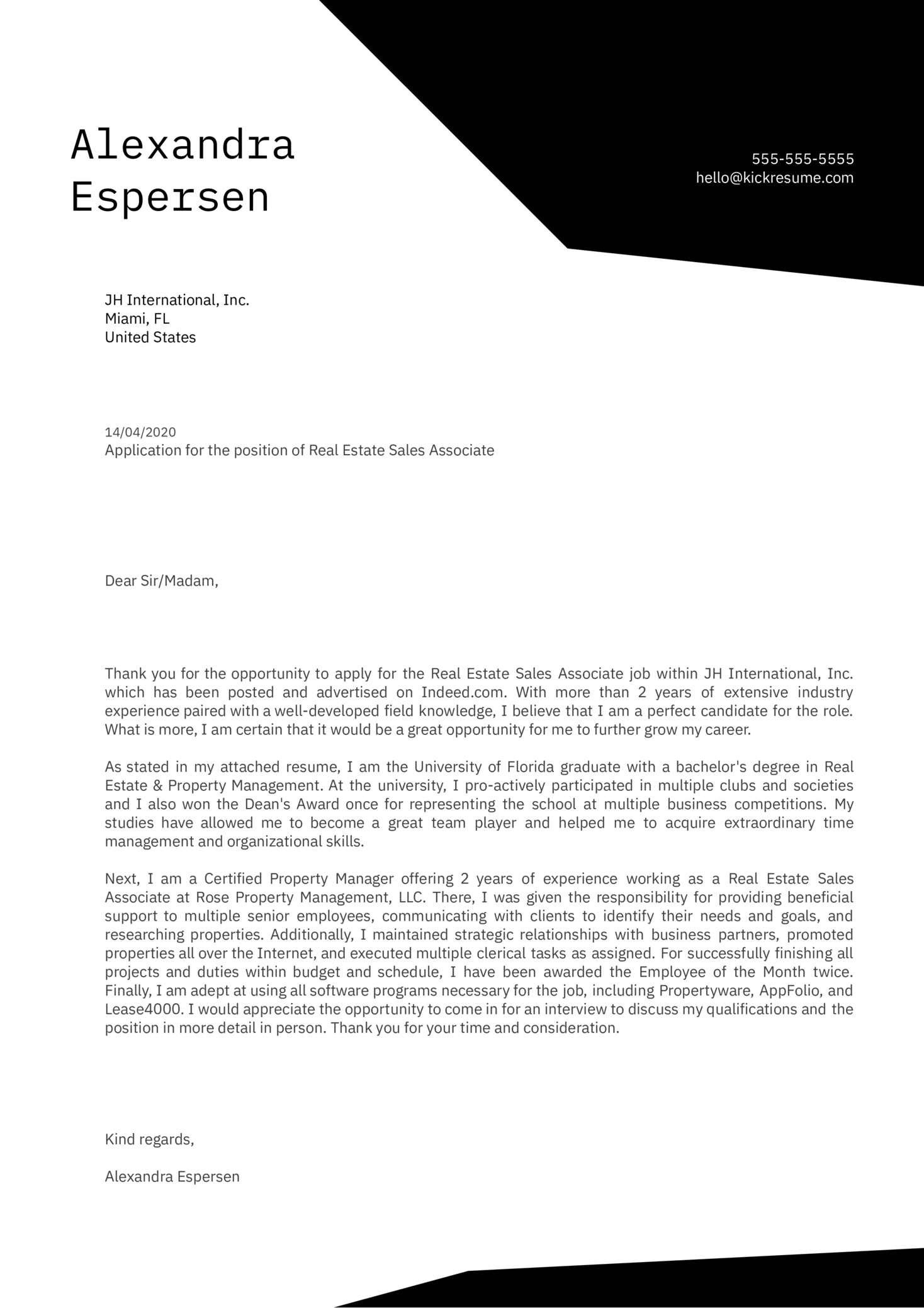 Real Estate Sales Associate Cover Letter Example