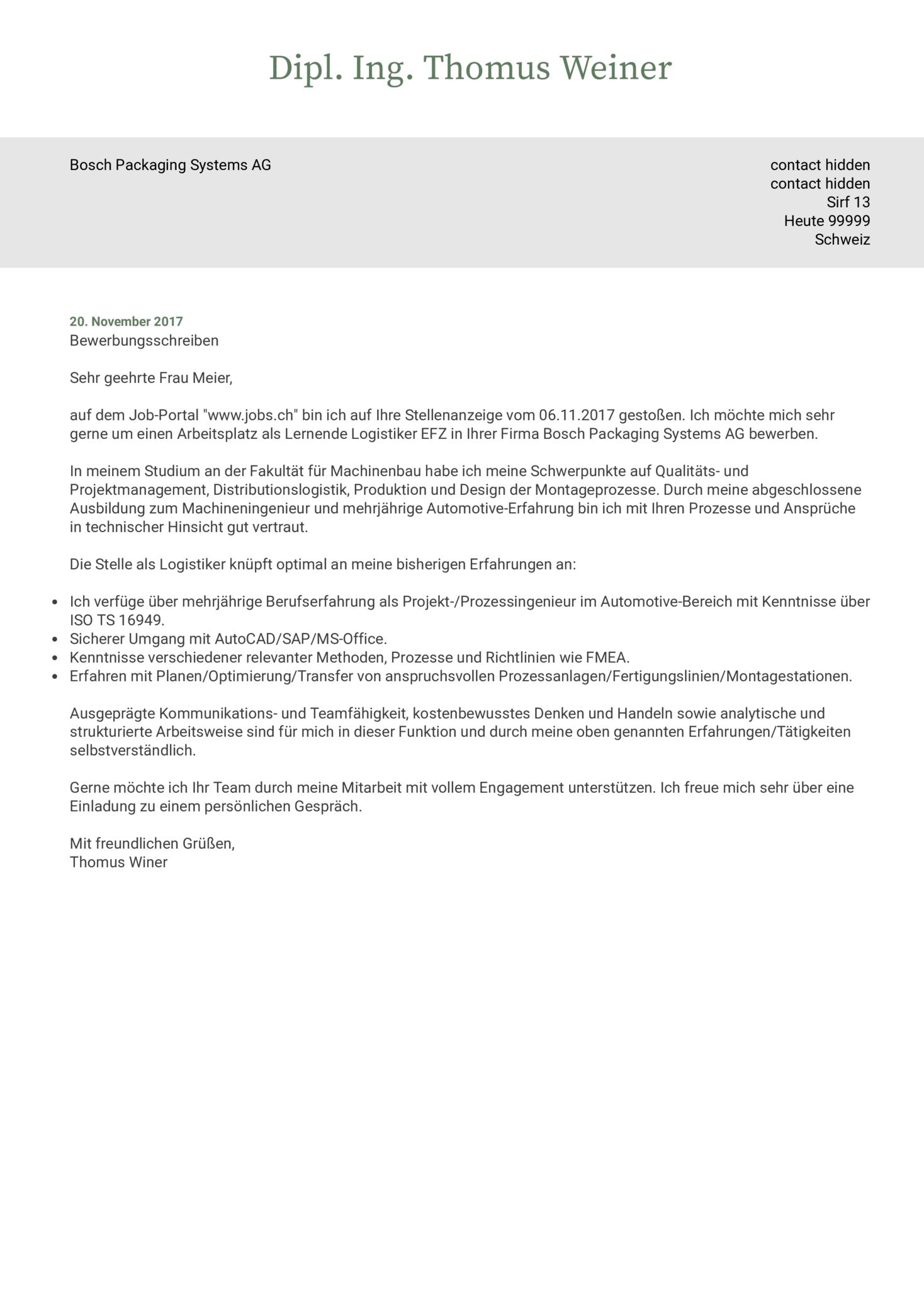 Bosch Maschinenbauingenieur Lebenslauf Sample [DE]