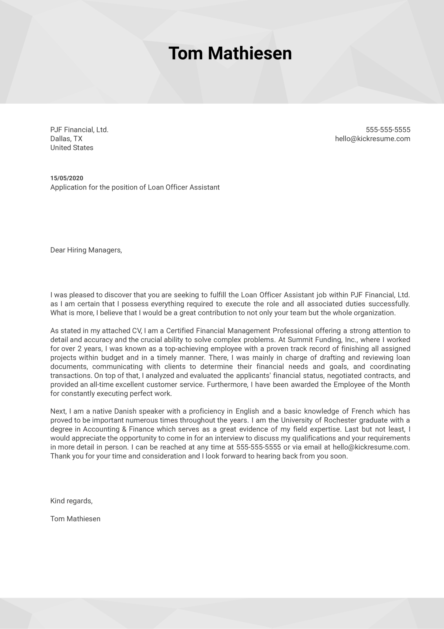 Loan Officer Assistant Cover Letter Sample