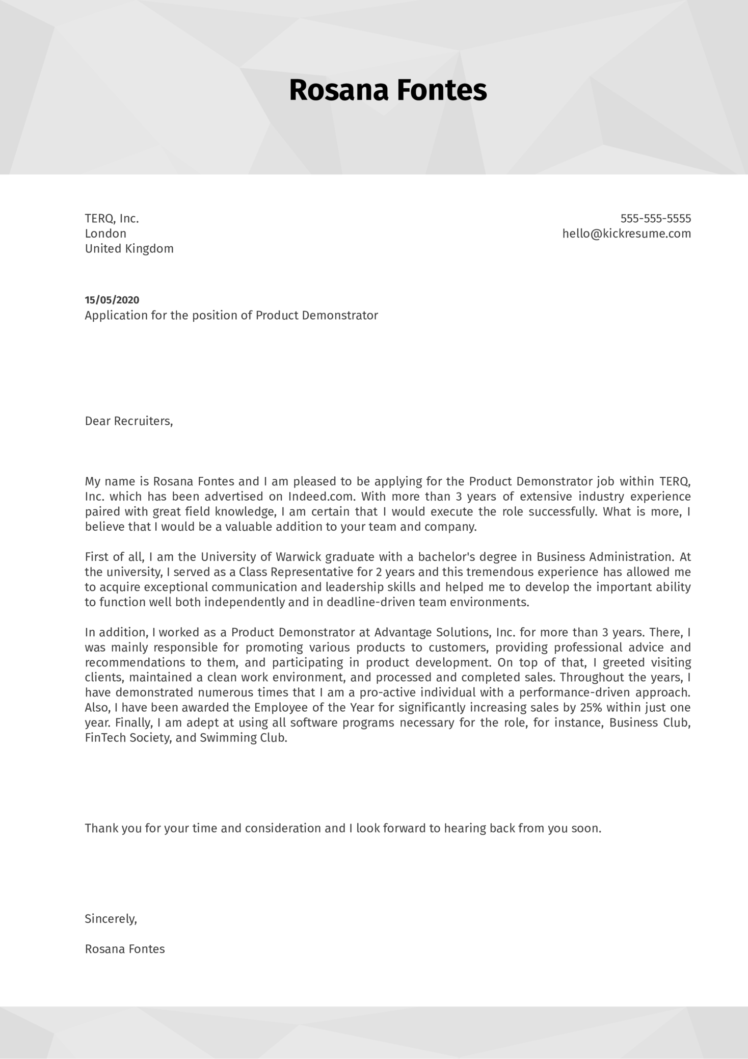 Product Demonstrator Cover Letter Example