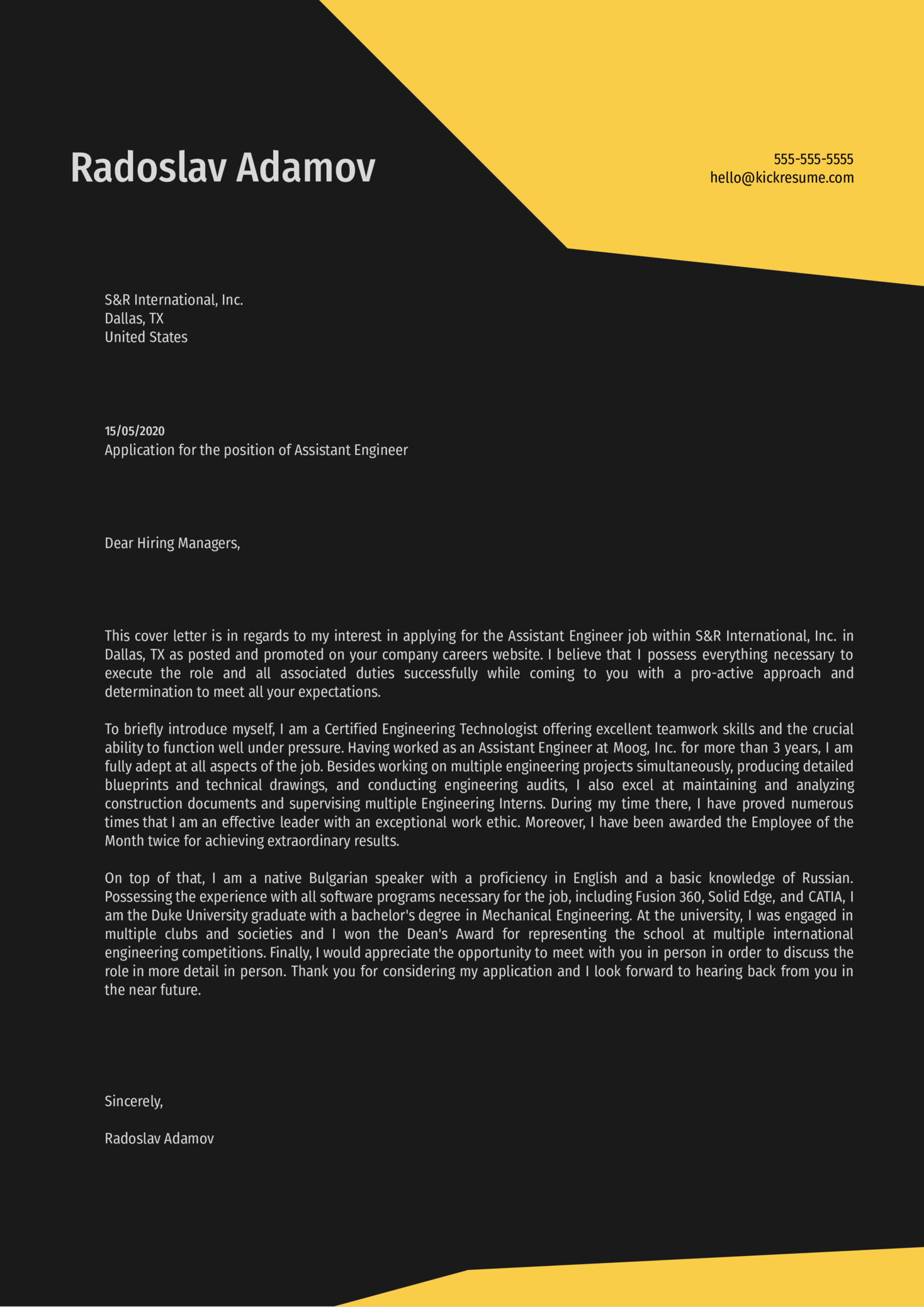 Assistant Engineer Cover Letter Sample