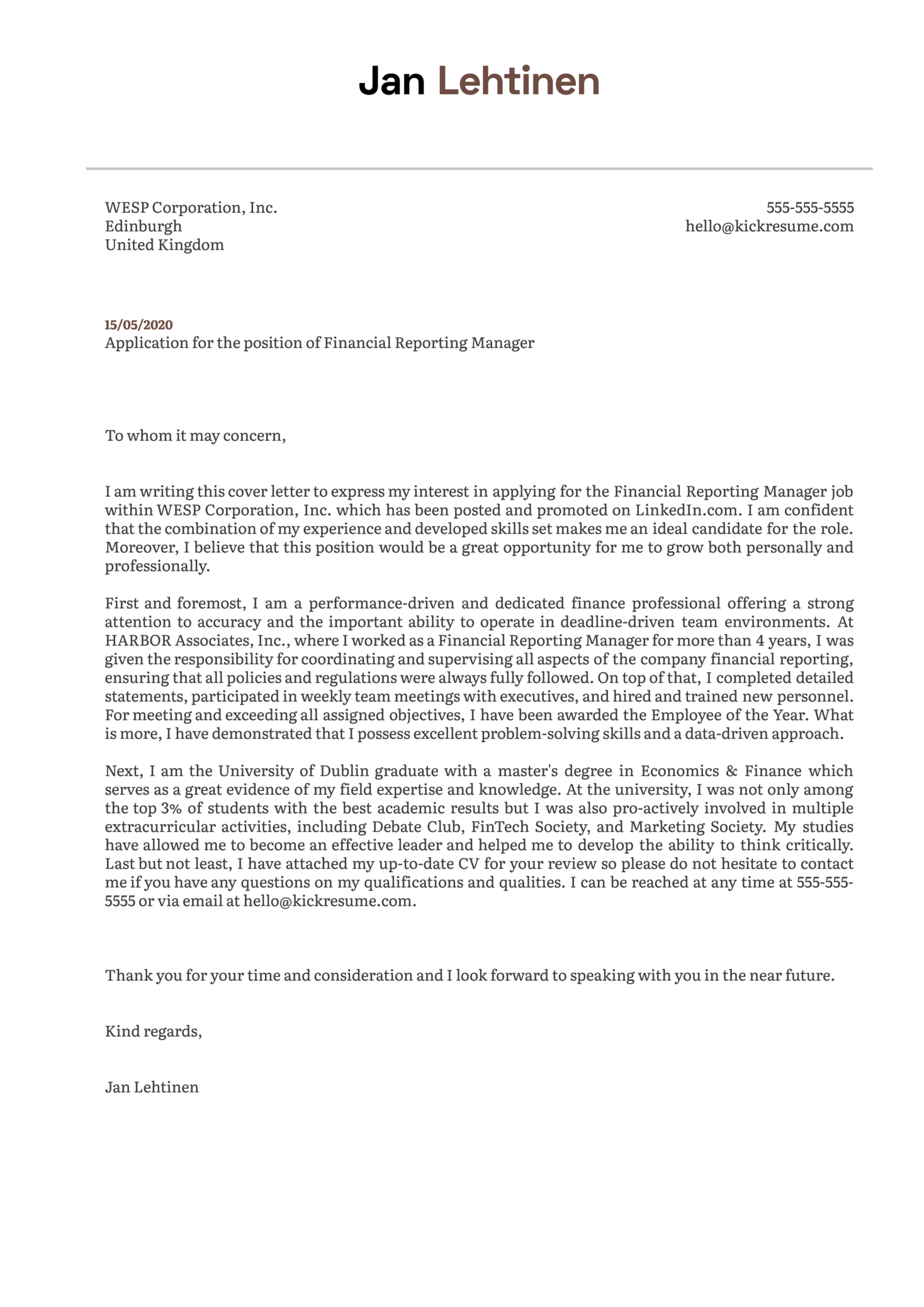 Financial Reporting Manager Cover Letter Sample