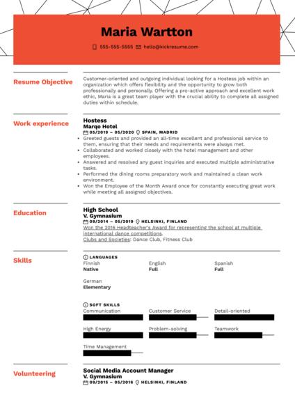 Hostess Resume Sample
