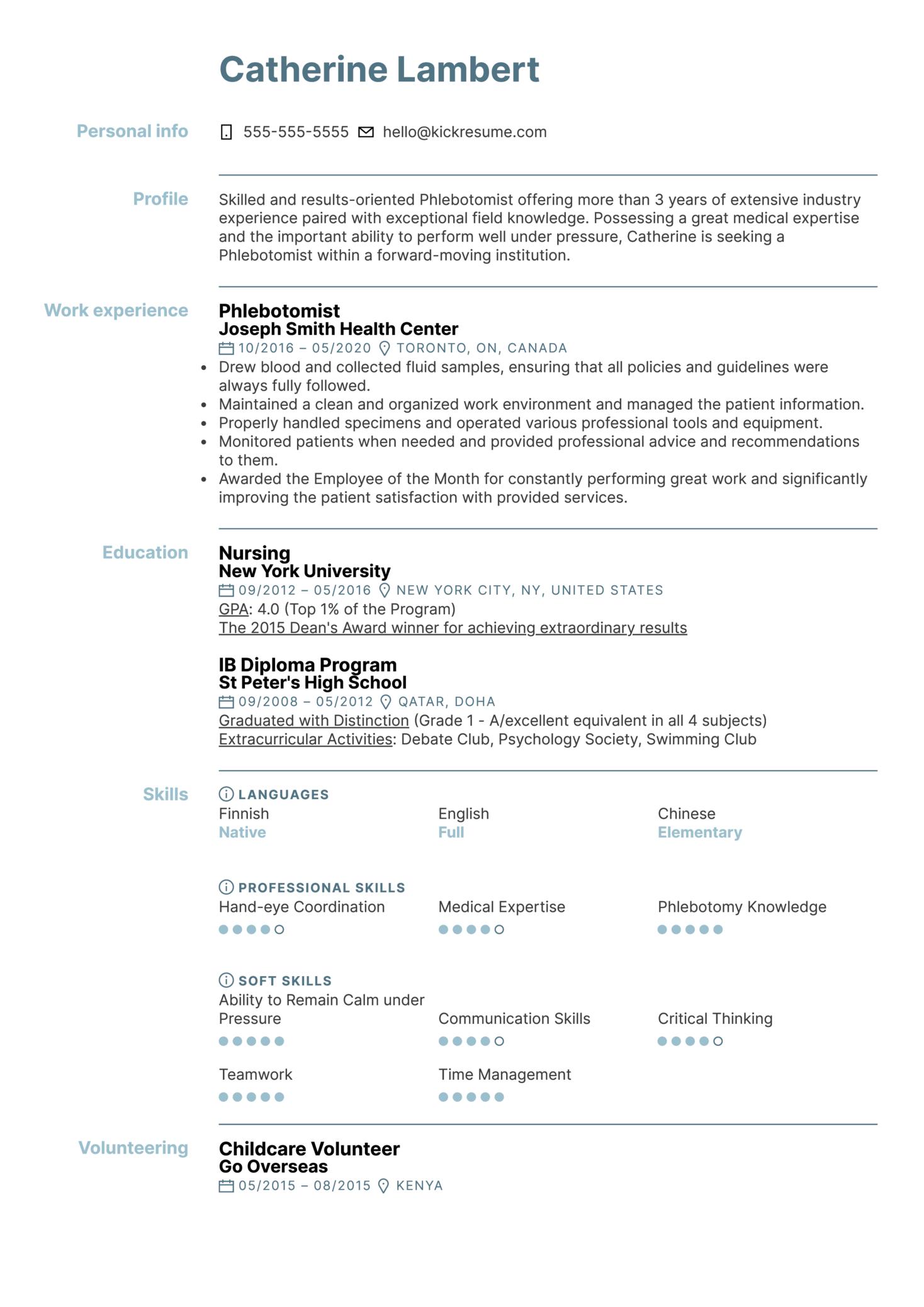 Phlebotomist Resume Example (Part 1)