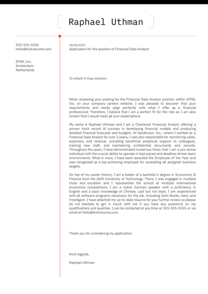 Financial Data Analyst Cover Letter Sample