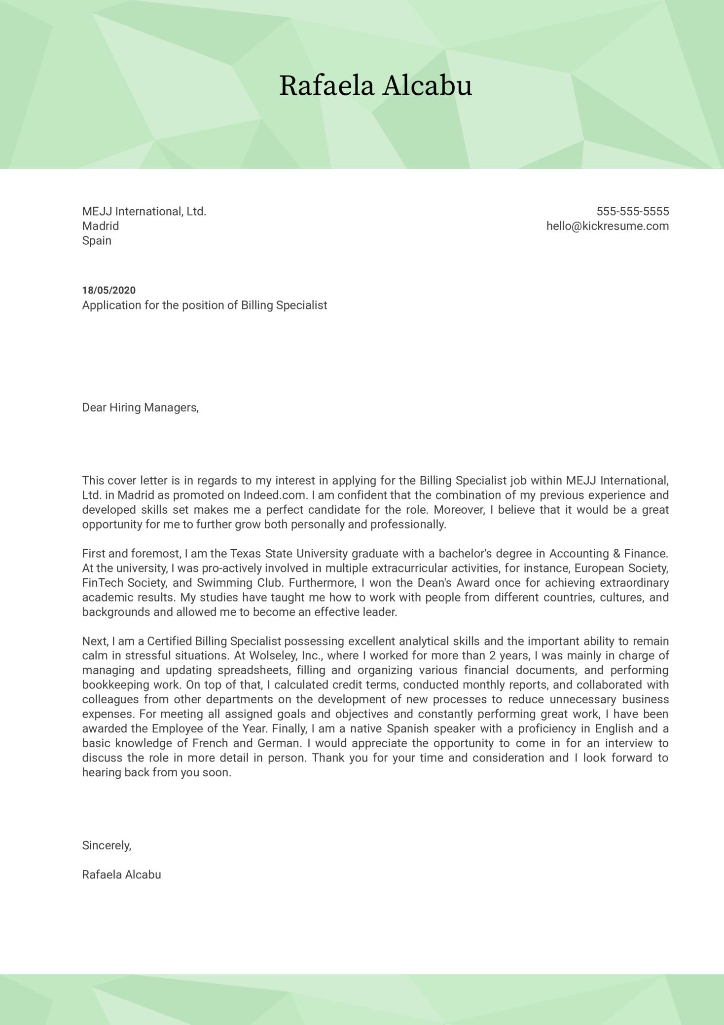 Billing Specialist Cover Letter Sample