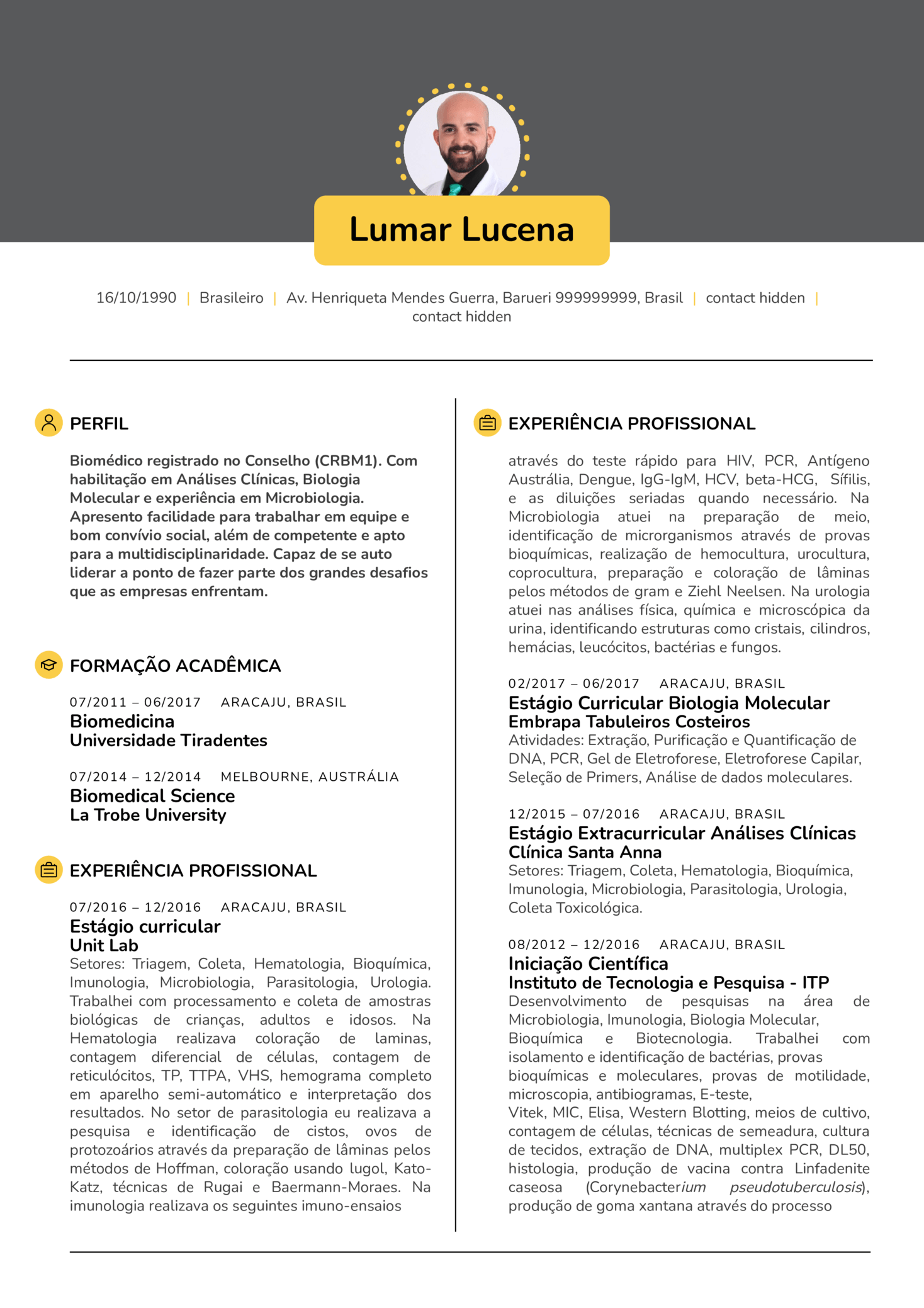 Analista de Laboratório Amostra de Resume (parte 1)