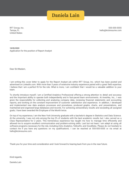 Report Analyst Cover Letter Sample