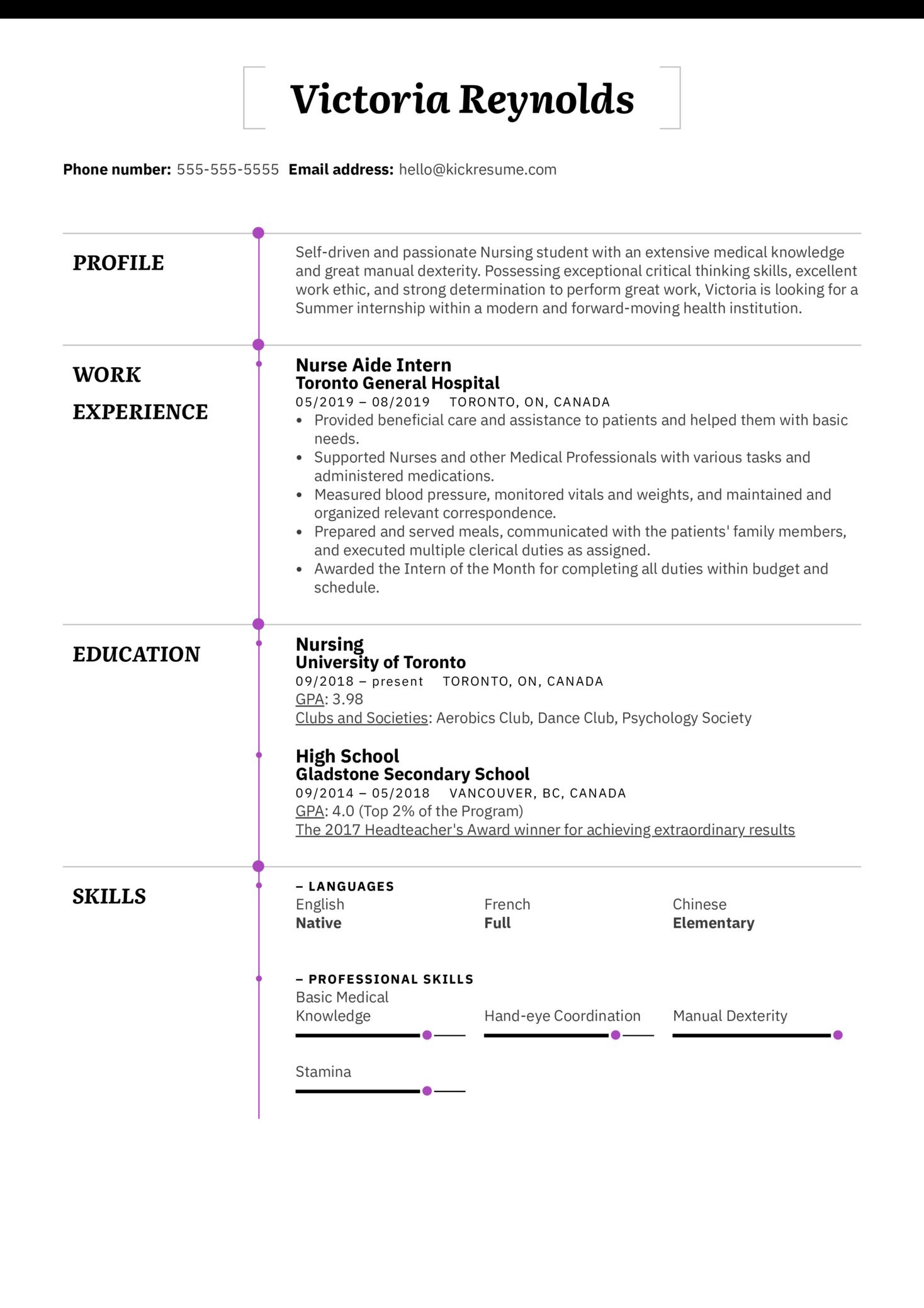 Nursing Student Resume Example (Teil 1)