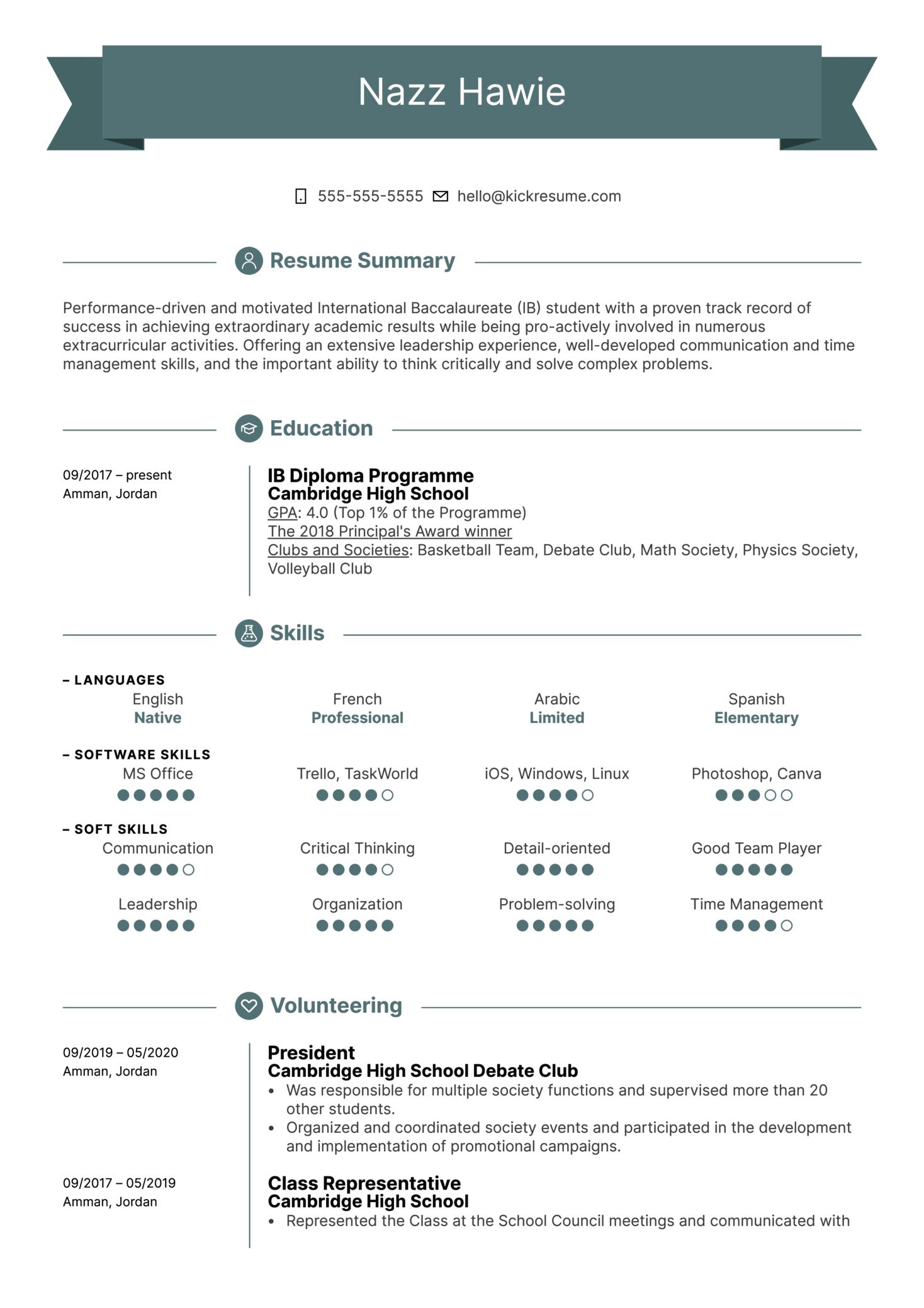 First Job Resume Template (časť 1)