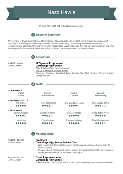 First Job Resume Template
