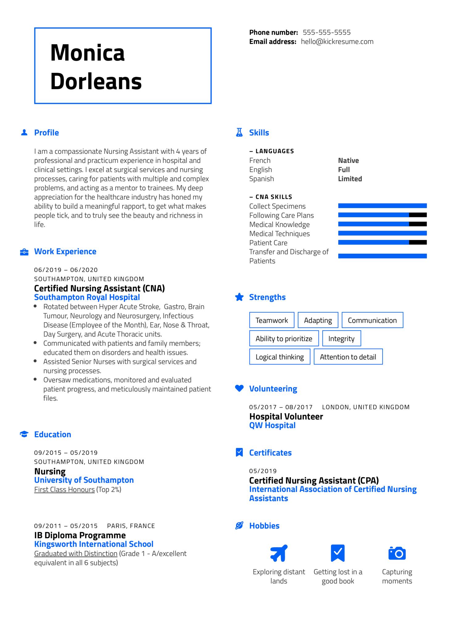 Certified Nursing Assistant Resume Sample