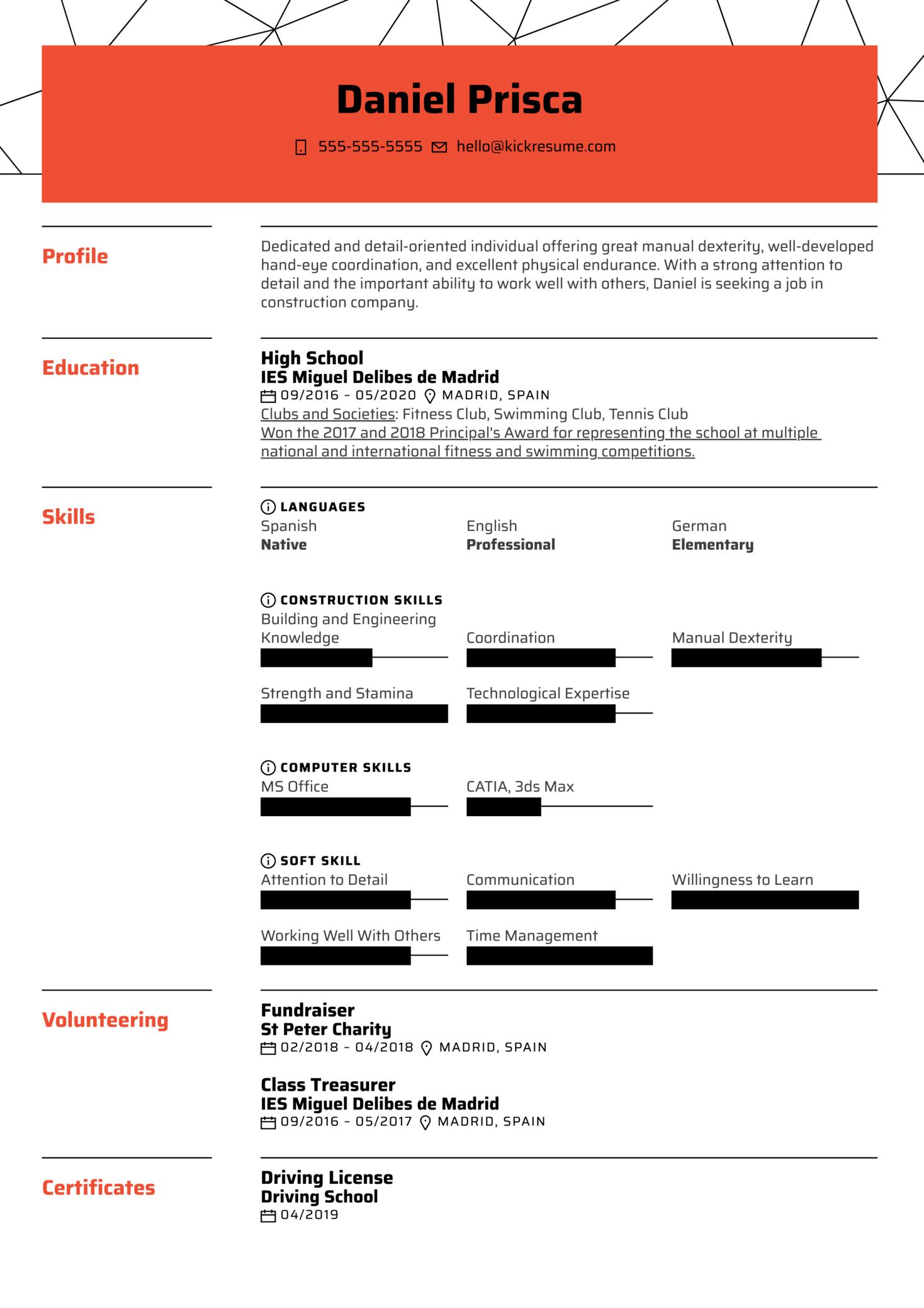 No Work Experience Resume Example