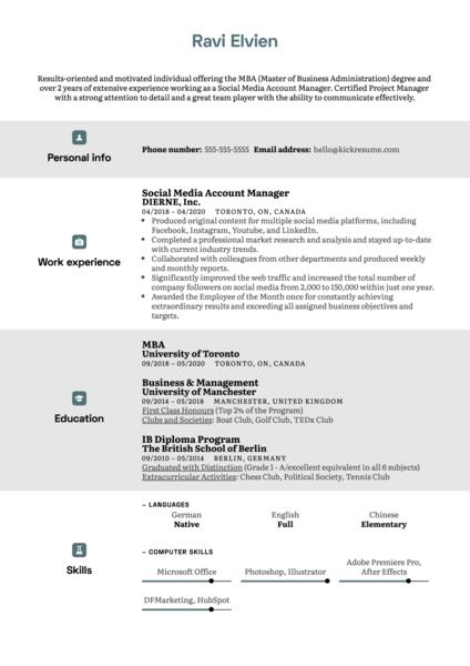 MBA Modern Resume Template