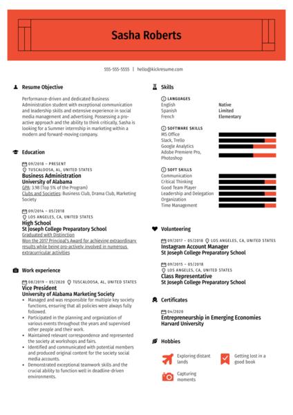 College Simple Resume Template