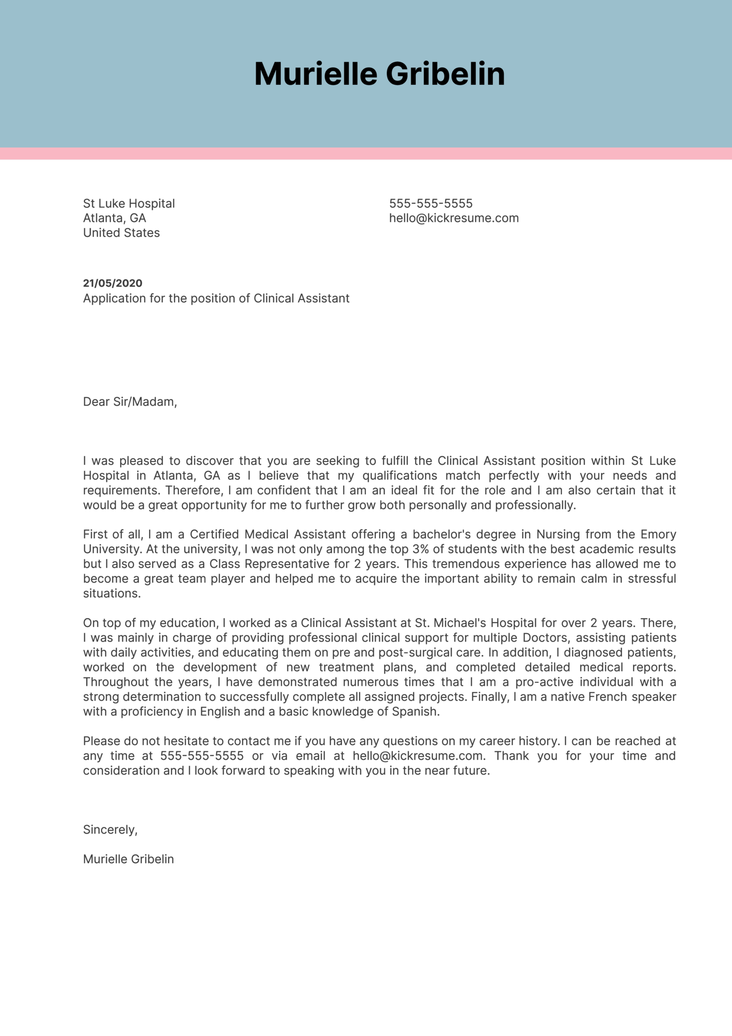 Clinical Assistant Cover Letter Example