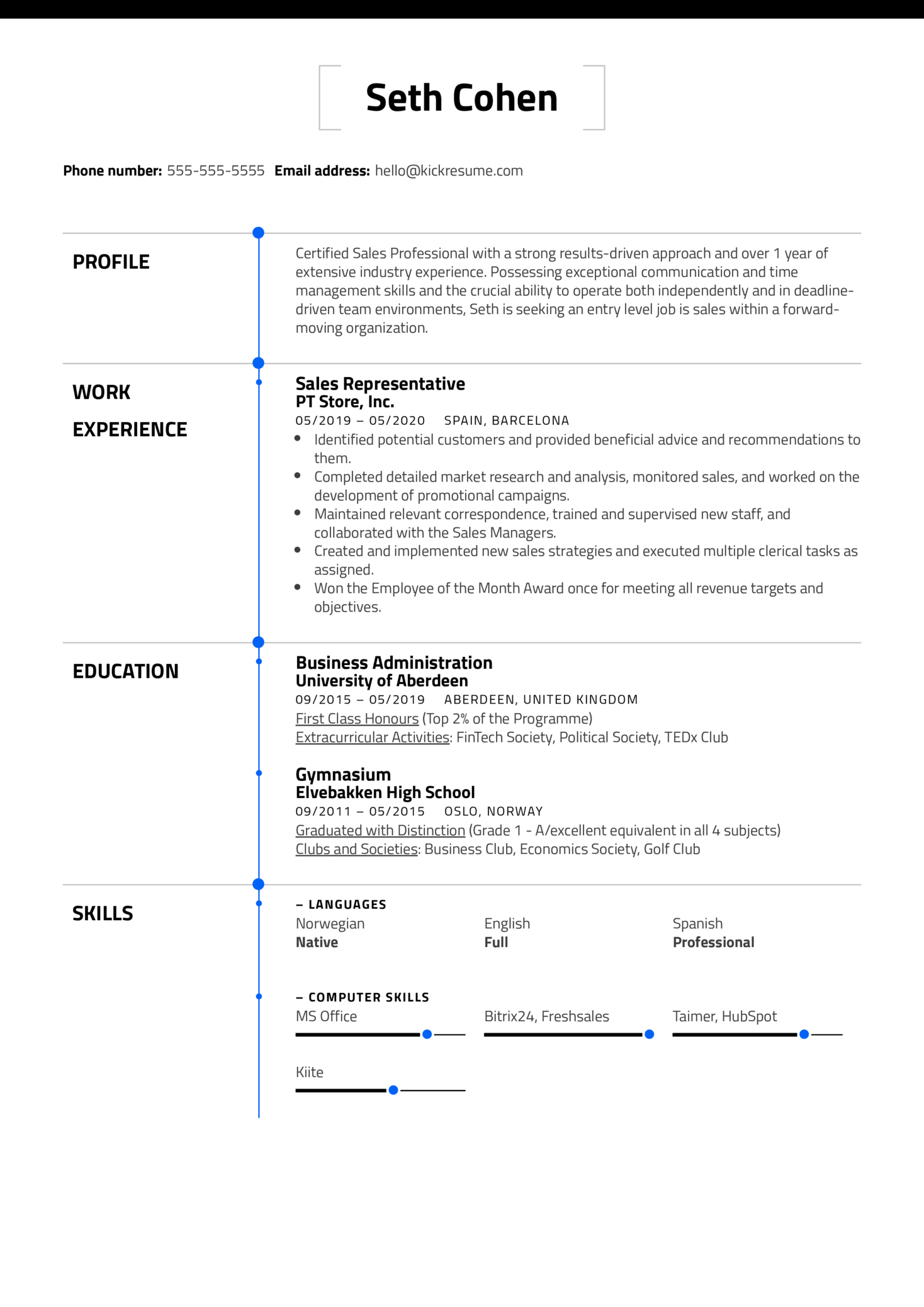 Free Entry Level Resume Example (Part 1)