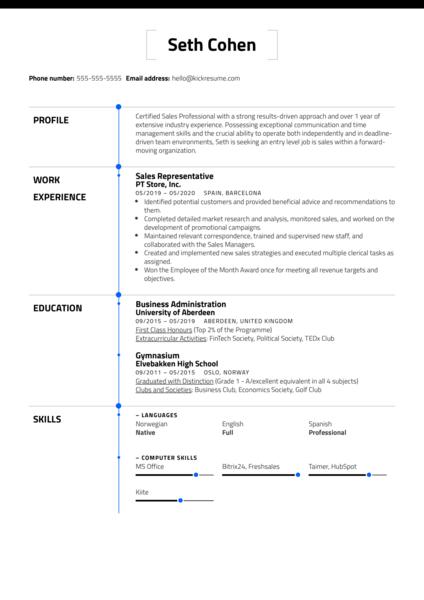 Free Entry Level Resume Example