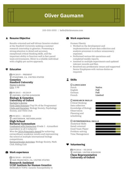 Free Academic Resume Example