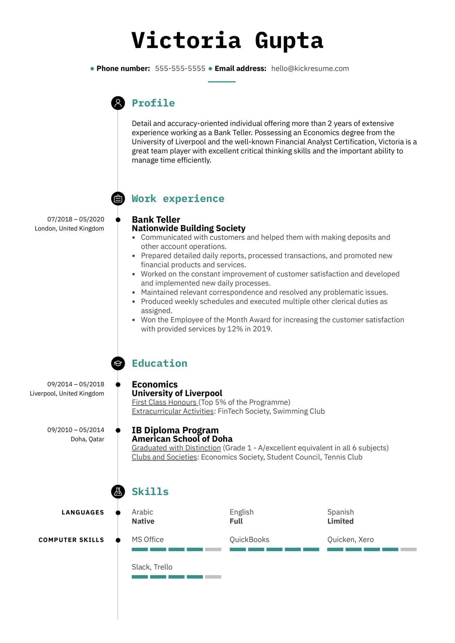 Bank Teller Resume Sample (Teil 1)