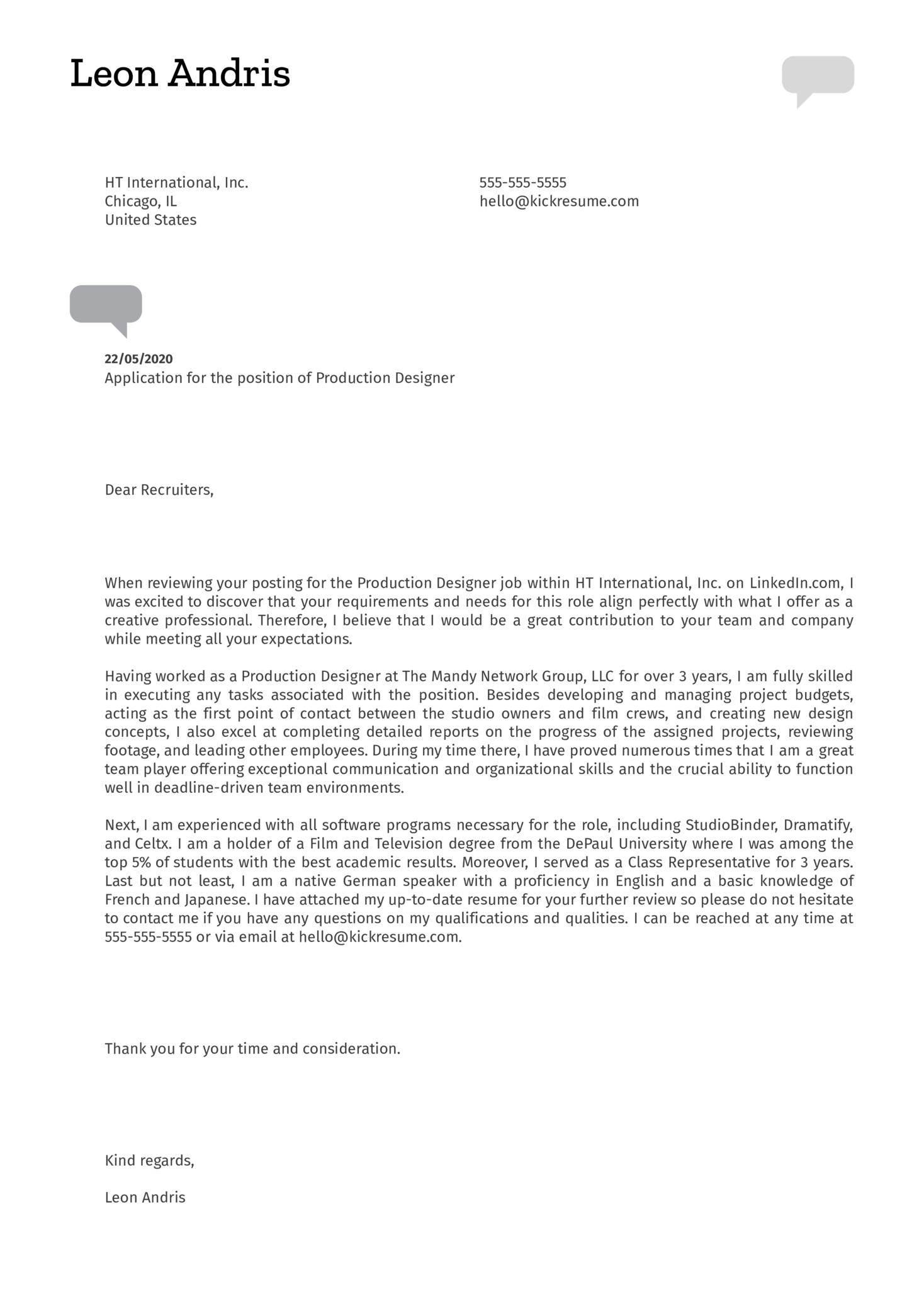 Production Designer Cover Letter Sample