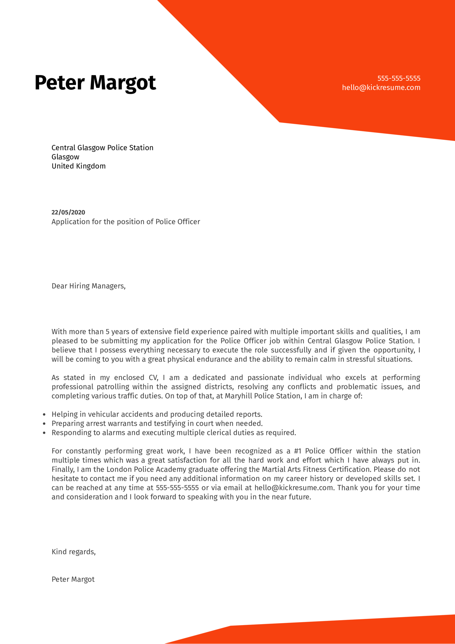 Police Officer Cover Letter Example