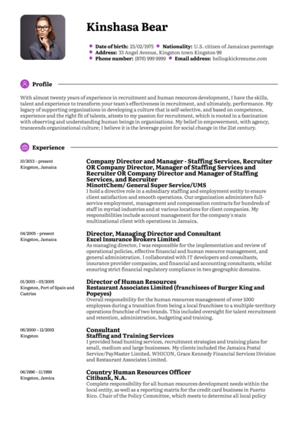 Human Resources Officer, Consultant Resume Sample