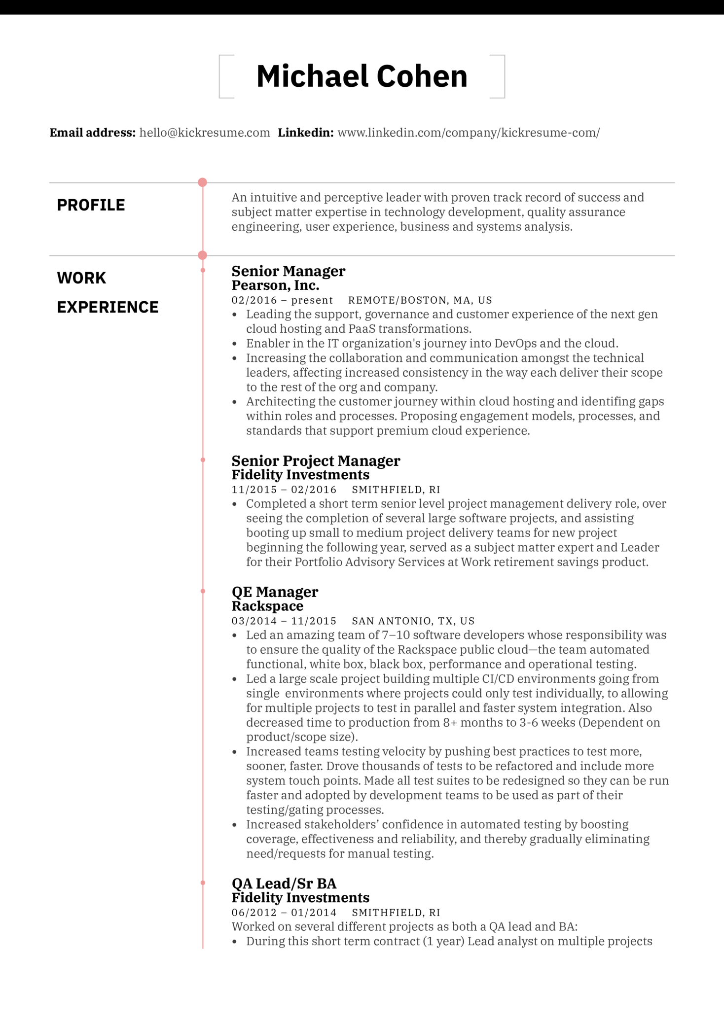 Senior Project Manager at Pearson Resume Sample (Part 1)