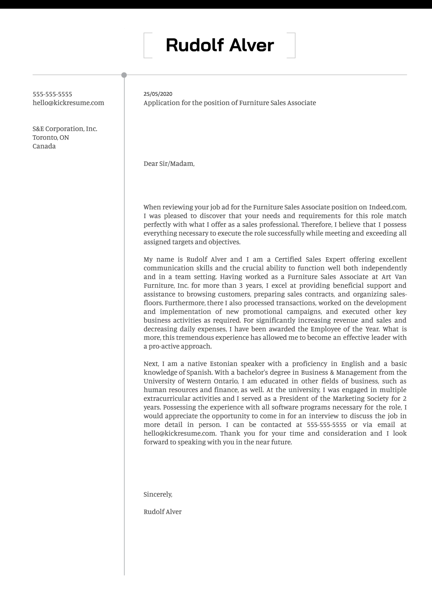 Furniture Sales Associate Cover Letter Example